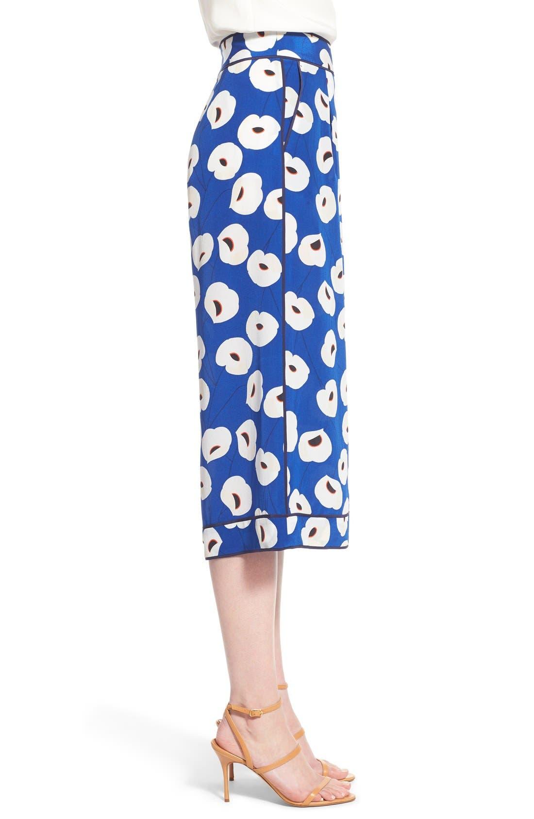 Floral Print Silk Culottes,                             Alternate thumbnail 4, color,                             Blue Mazarine Poppy