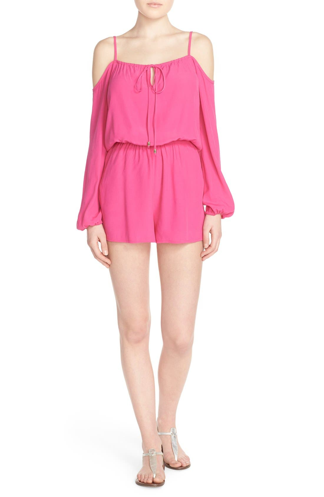Cold Shoulder Romper,                         Main,                         color, Pink