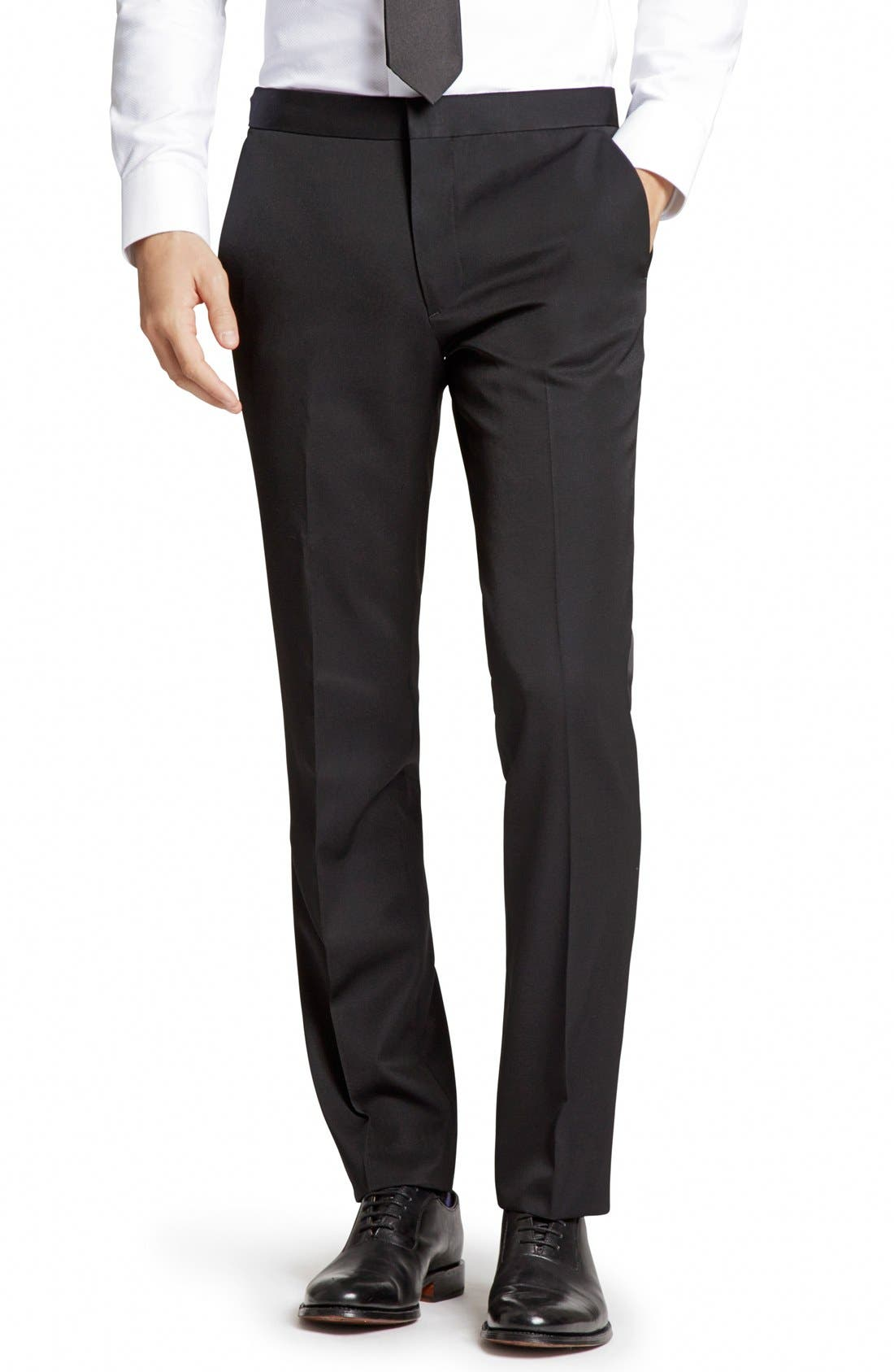 Flat Front Wool Tuxedo Trousers,                         Main,                         color, Black