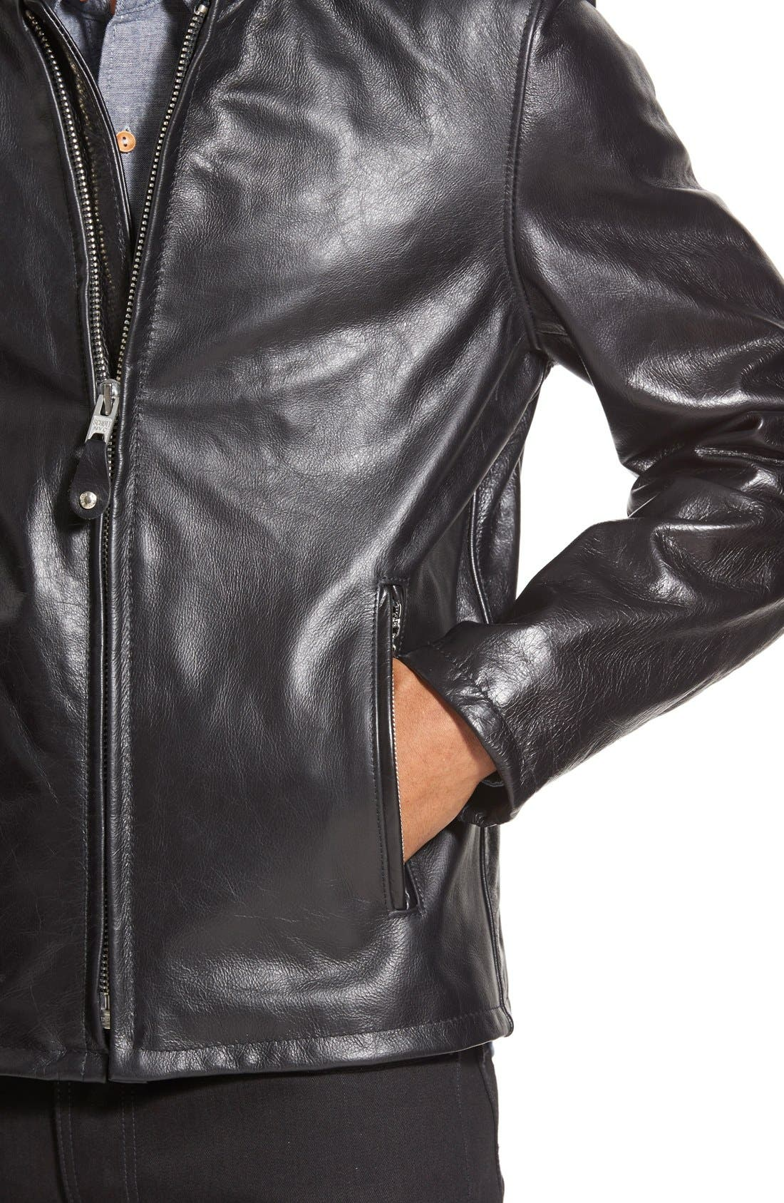 Alternate Image 4  - Schott NYC 'Casual Café Racer' Slim Fit Leather Jacket