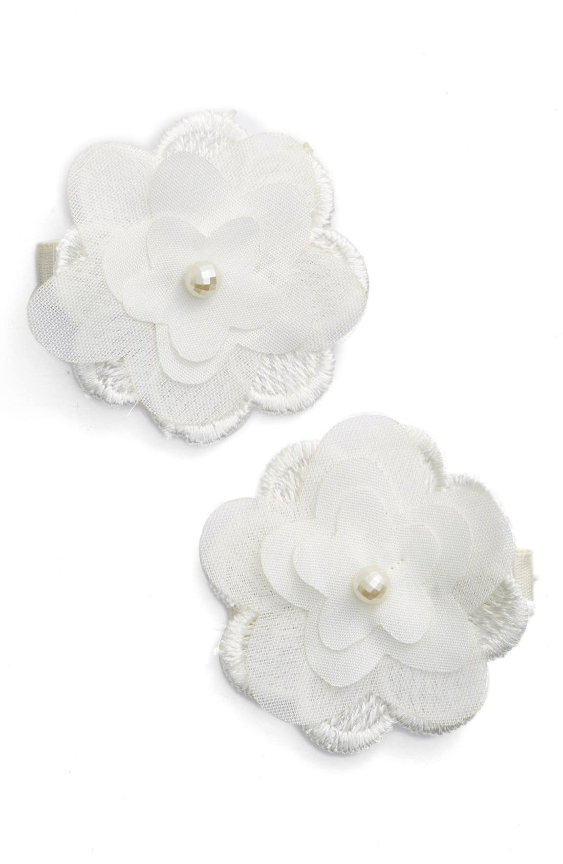 Flower Hair Clips,                         Main,                         color, Antique White
