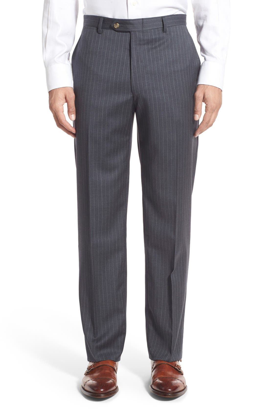 New York Classic Fit Stripe Wool Suit,                             Alternate thumbnail 7, color,                             Grey