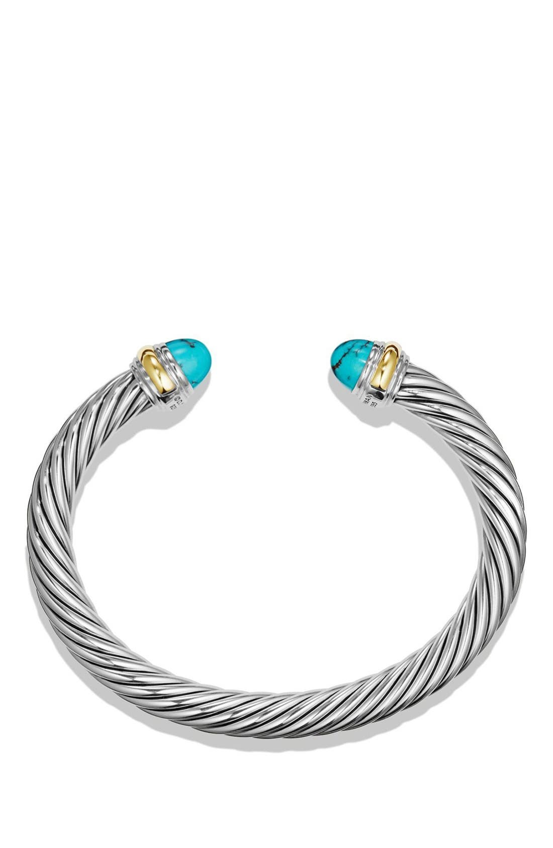 'Cable Classics' Bracelet with Gold,                             Alternate thumbnail 2, color,                             Silver/ Gold/ Turquoise