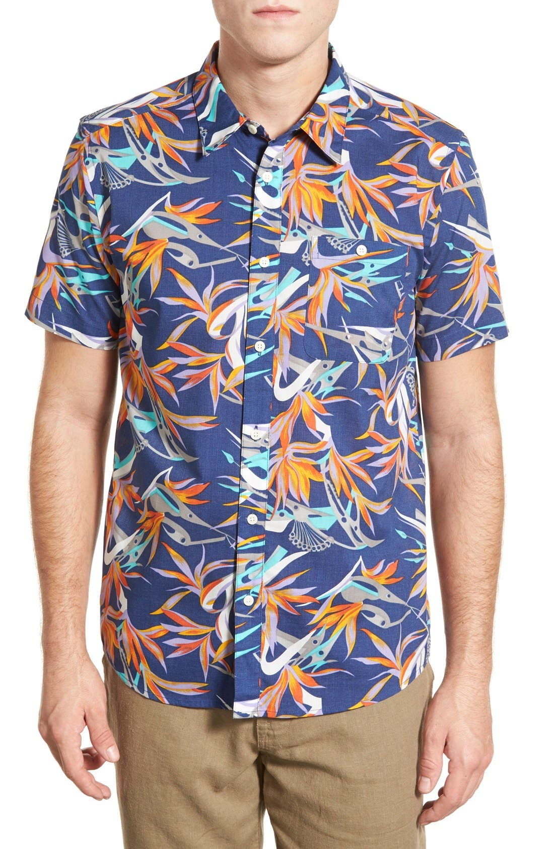 'Go To' Slim Fit Short Sleeve Sport Shirt,                         Main,                         color, Piton Paradise/ Channel Blue