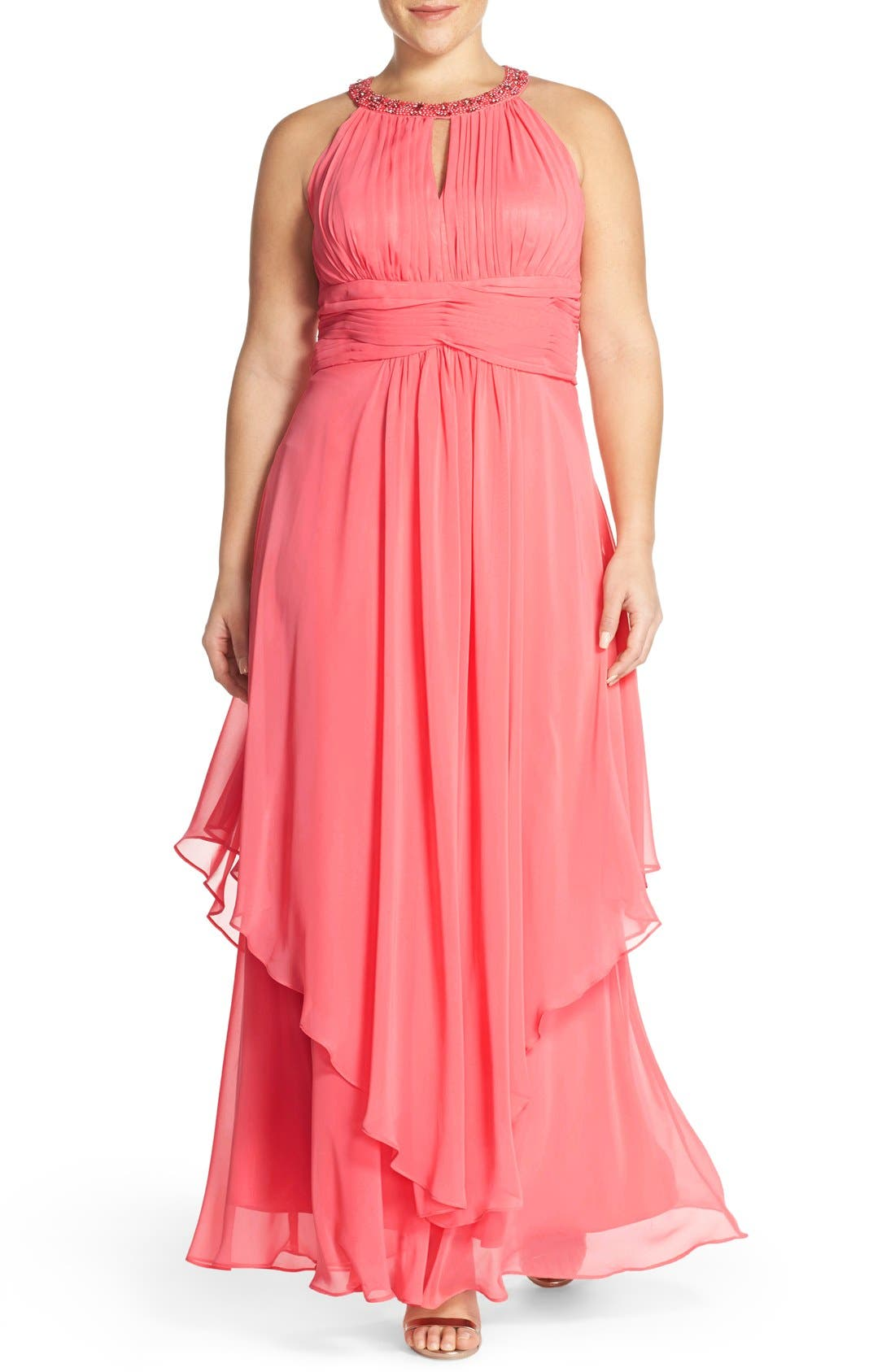 Alternate Image 1 Selected - Eliza J Embellished Keyhole Neck Chiffon Gown (Plus Size)