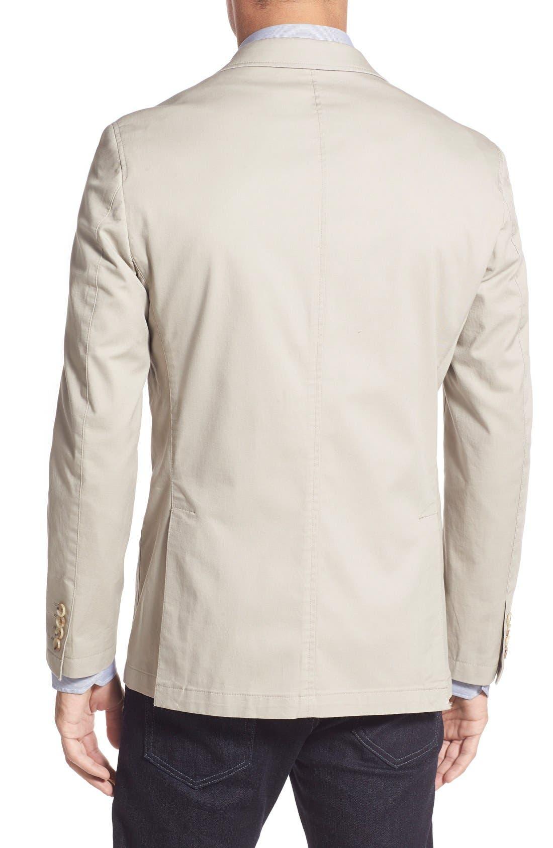 Trim Fit Stretch Cotton Blazer,                             Alternate thumbnail 2, color,                             Tan