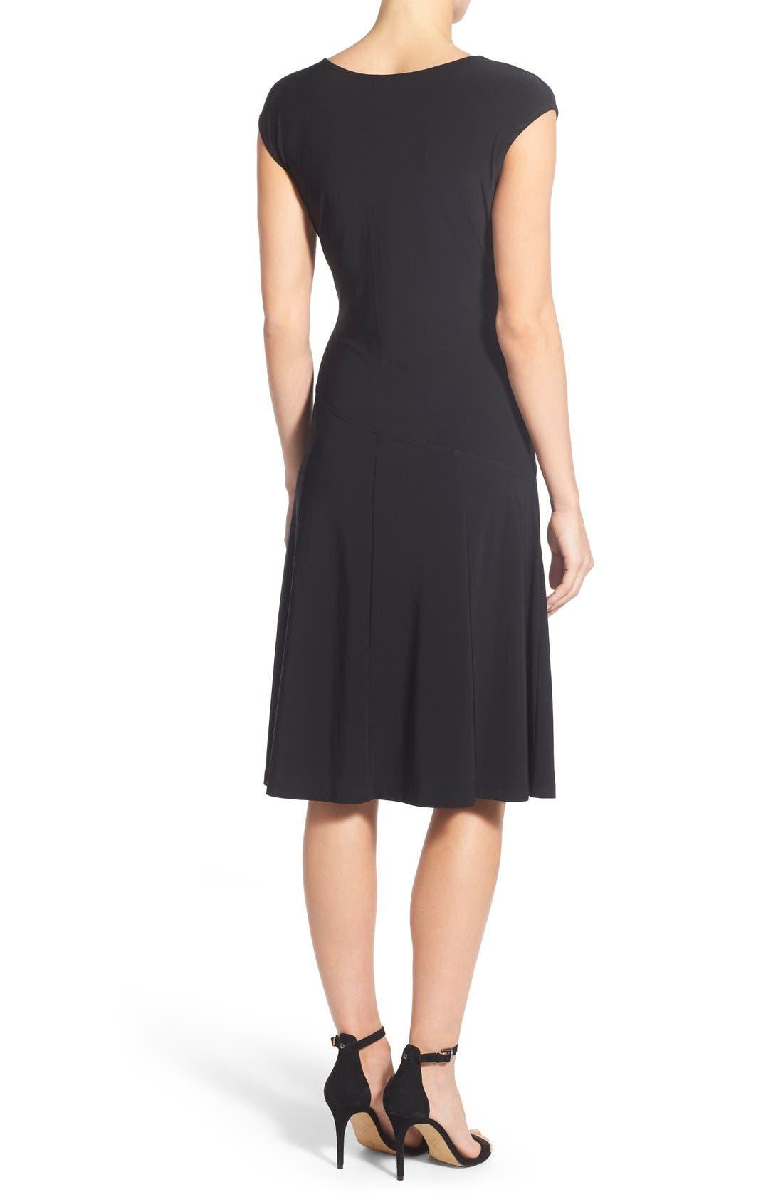 Matte Jersey Faux Wrap Fit & Flare Dress,                             Alternate thumbnail 2, color,                             Black Onyx