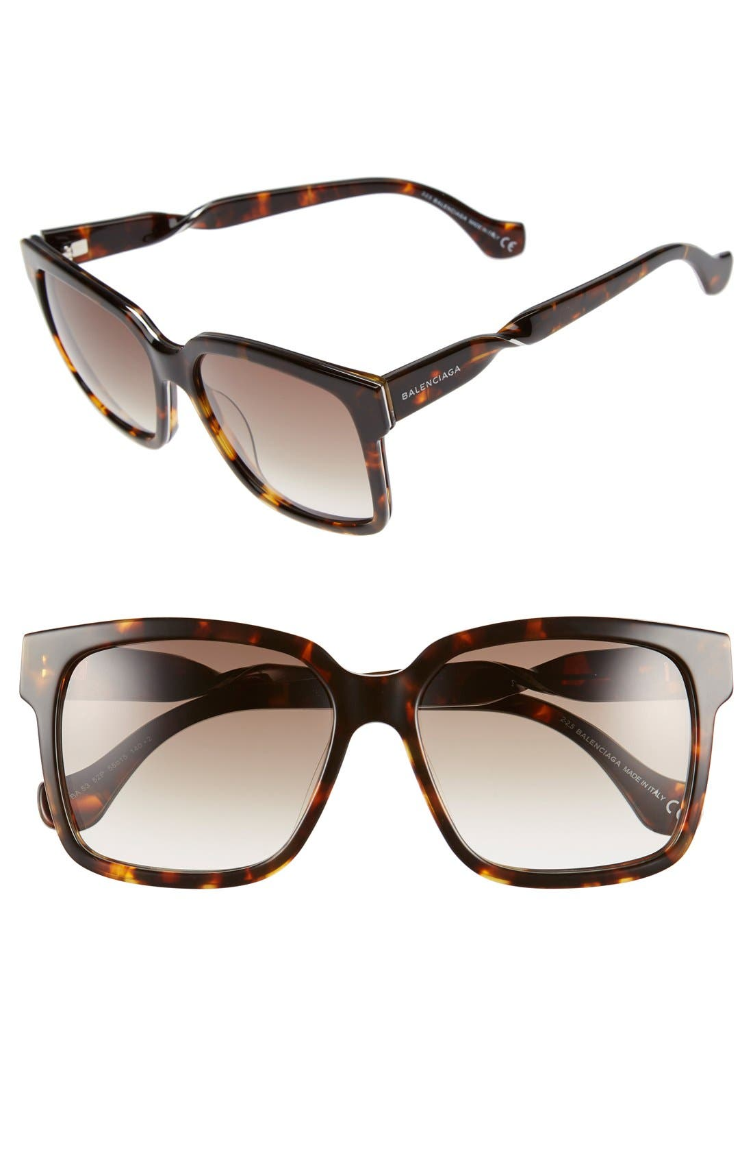 Paris 'BA0053' 55mm Cat Eye Sunglasses,                         Main,                         color, Dark Havana/ Gradient Green