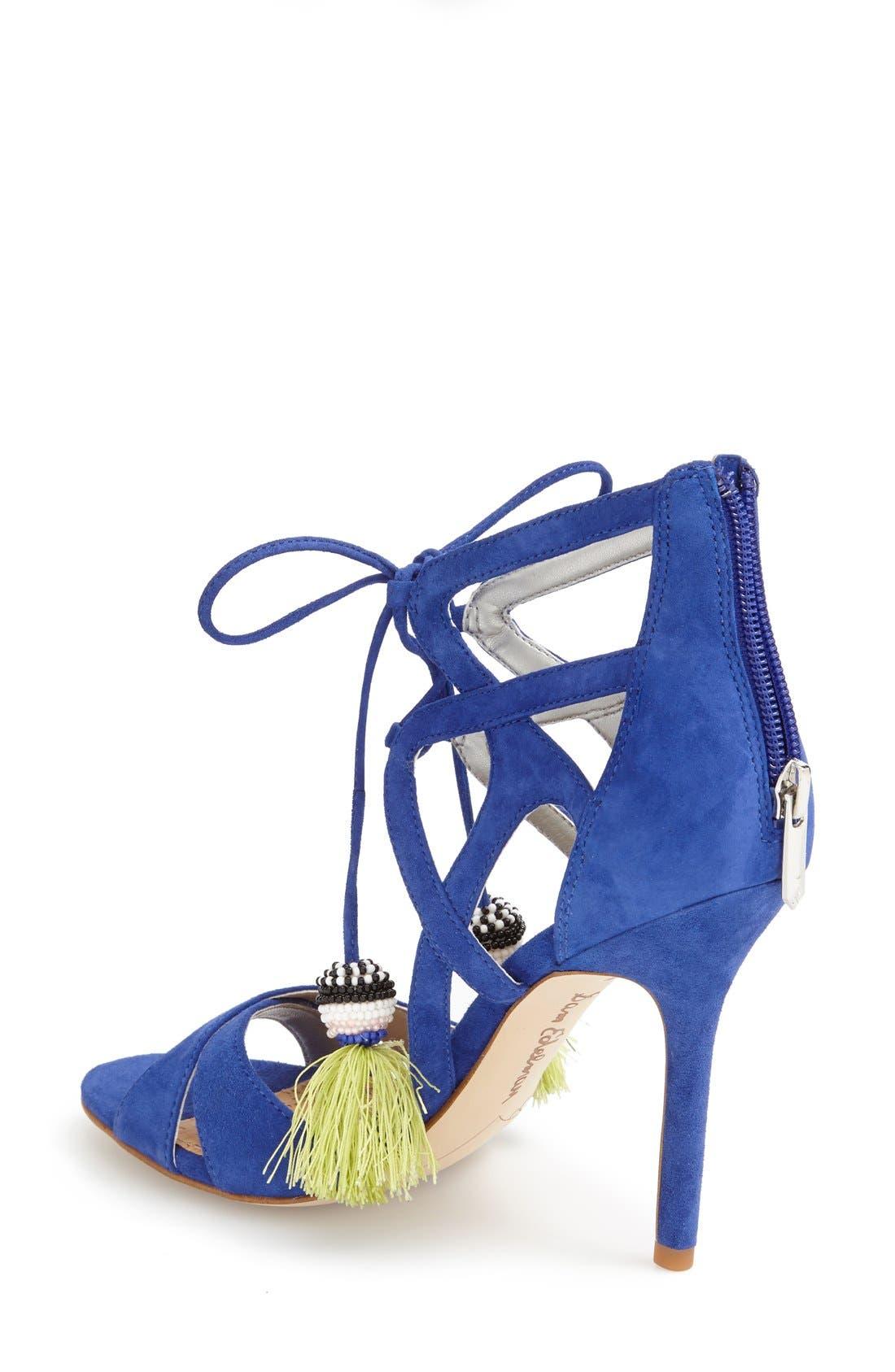 'Azela' Tassel Lace-Up Sandal,                             Alternate thumbnail 2, color,                             Sailor Blue Suede