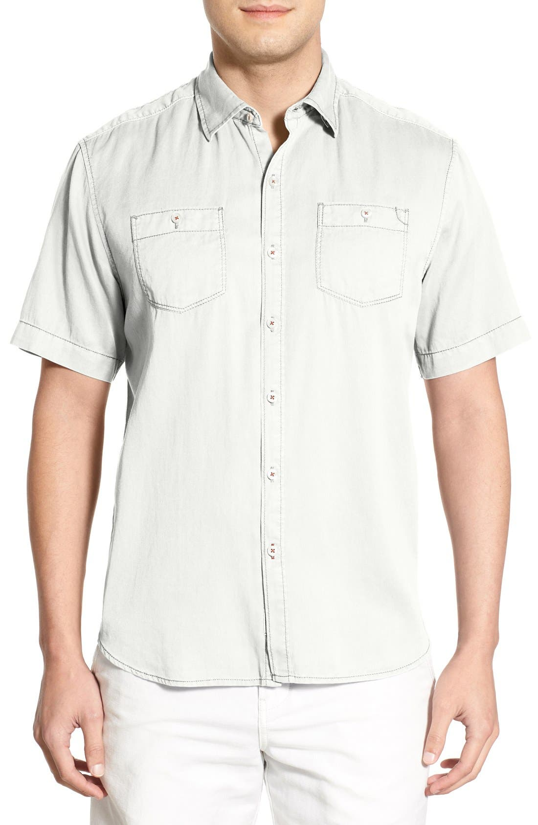 'New Twilly' Island Modern Fit Short Sleeve Twill Shirt,                             Main thumbnail 1, color,                             White