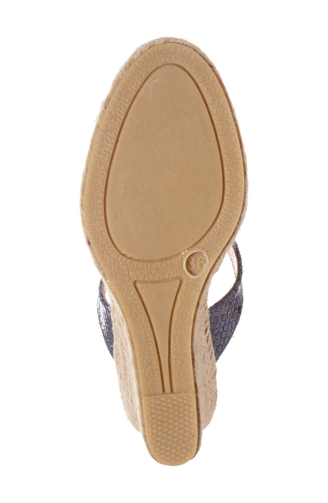 Snake Embossed Wedge Sandal,                             Alternate thumbnail 4, color,                             Cobalt