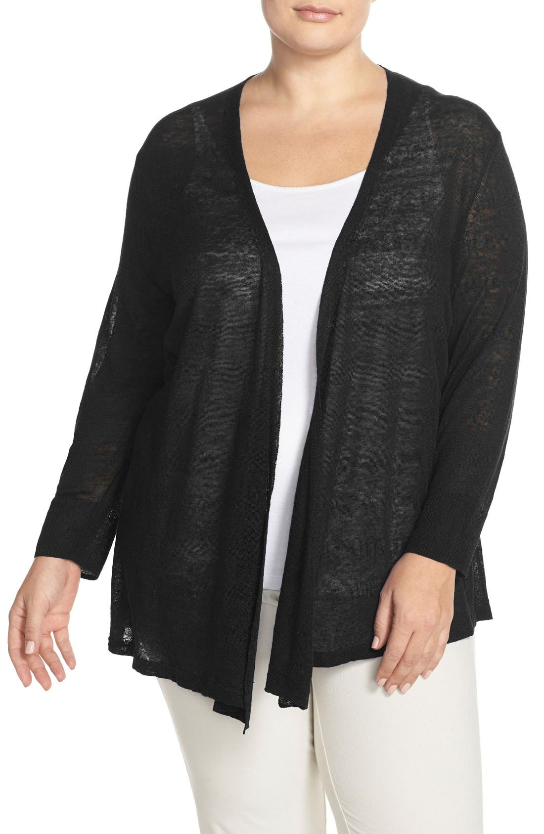 '4-Way' Three Quarter Sleeve Convertible Cardigan,                         Main,                         color, Black Onyx