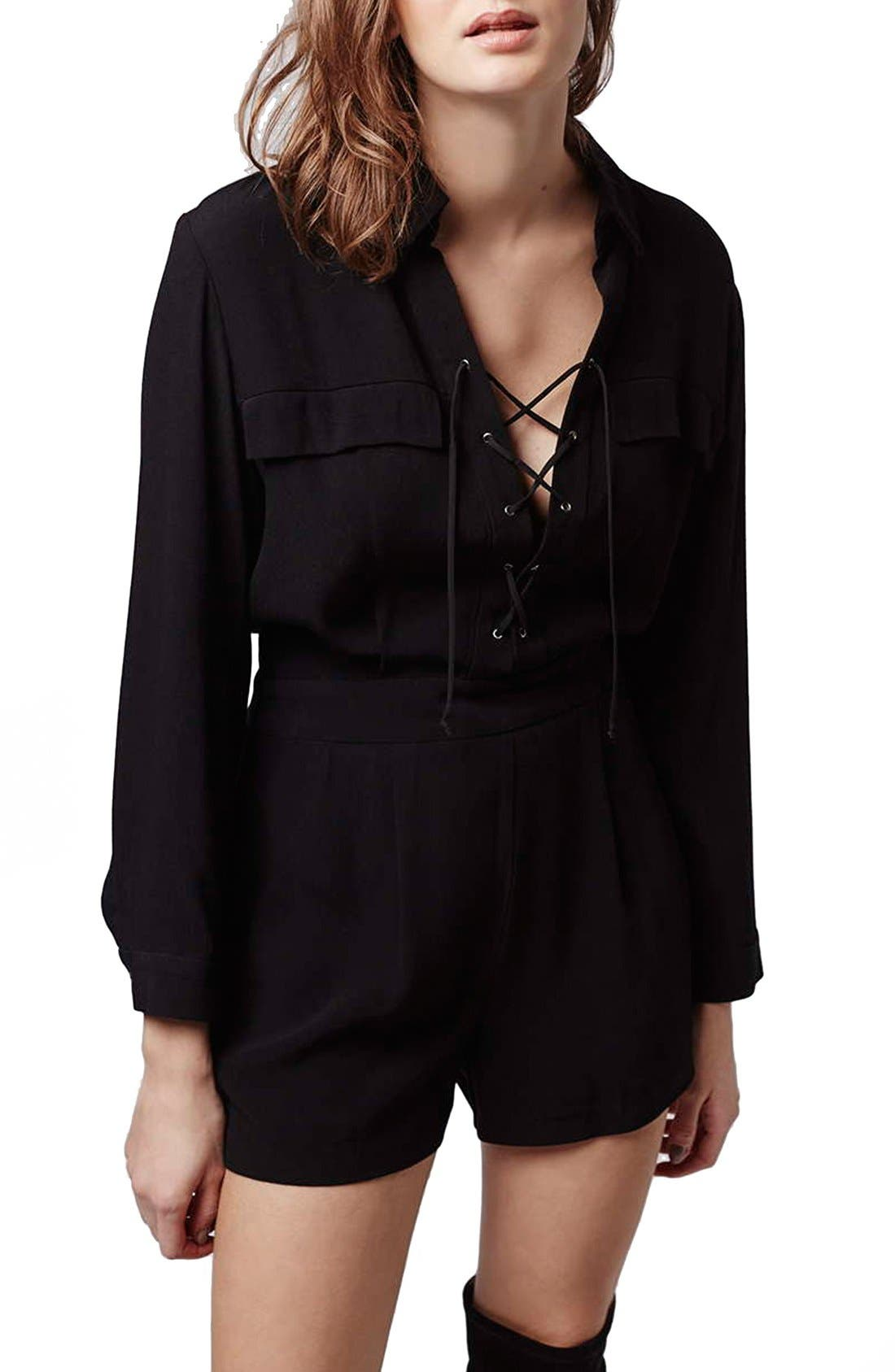 Lace-Up Long Sleeve Romper,                             Main thumbnail 1, color,                             Black