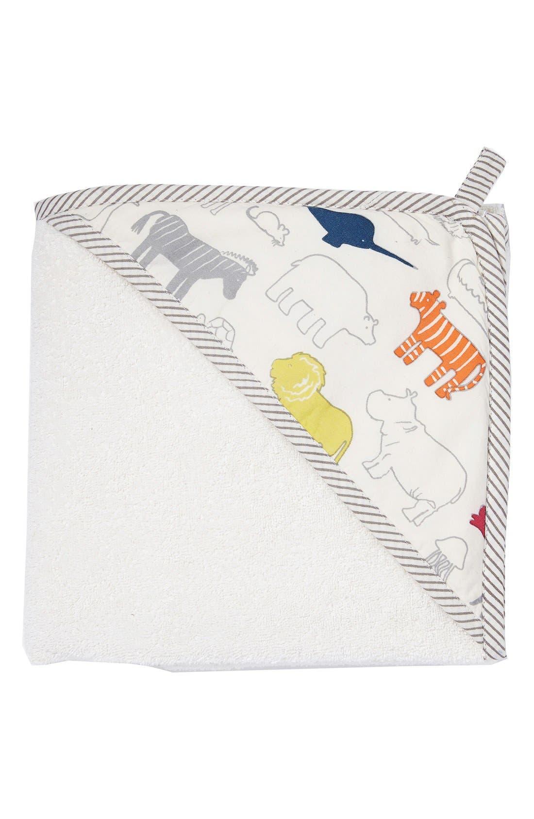 Print Hooded Towel,                         Main,                         color, Noahs Ark