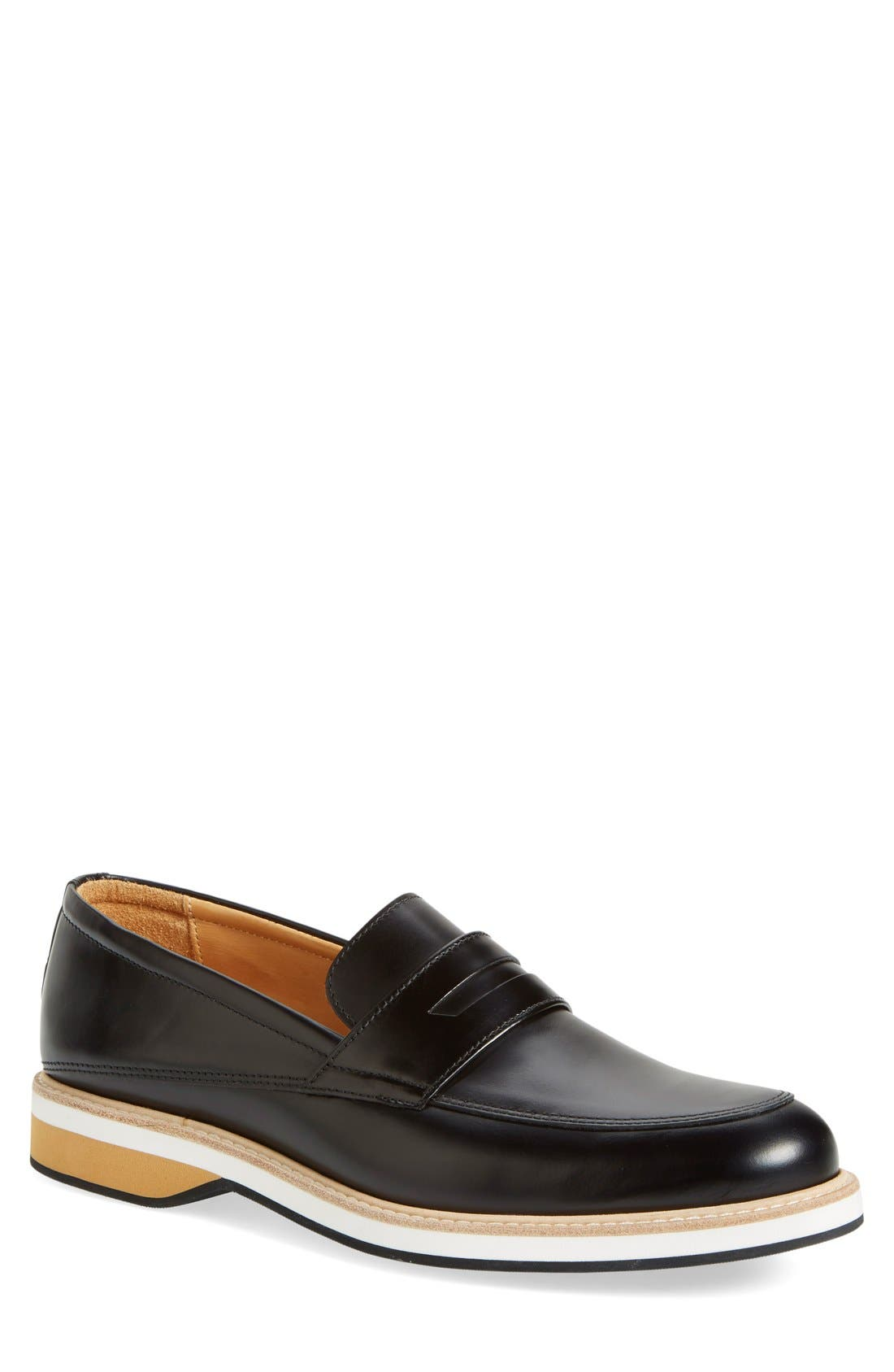 'Marcos' Loafer,                             Main thumbnail 1, color,                             Black Leather