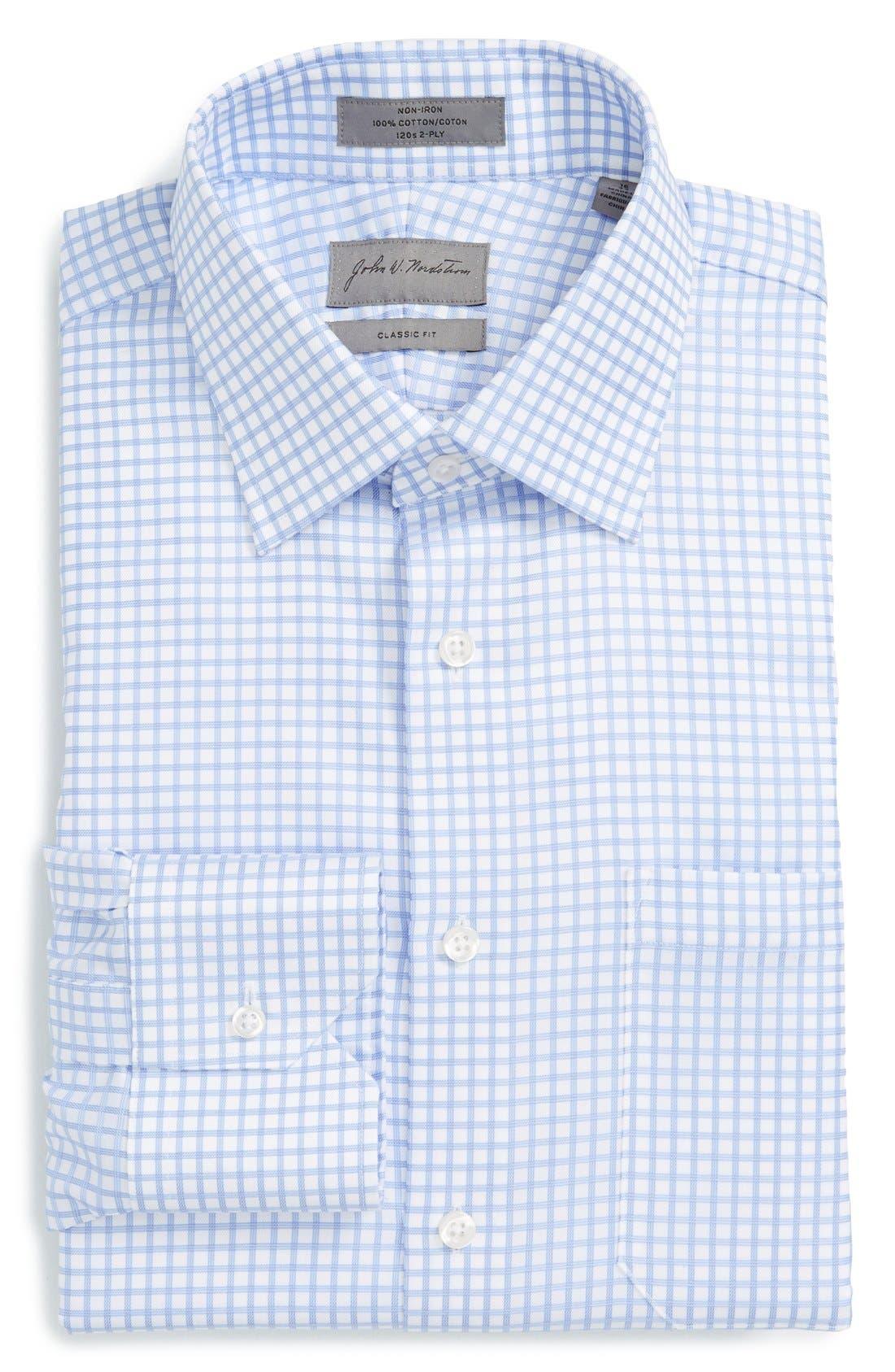 Classic Fit Non-Iron Check Dress Shirt,                         Main,                         color, Blue Grapemist