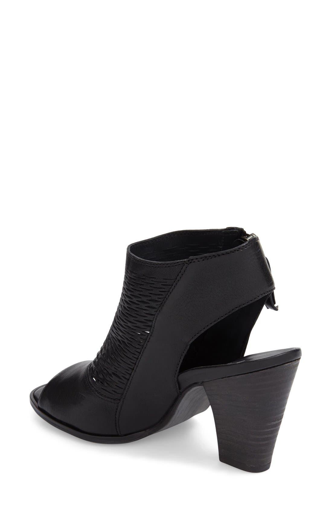 'Willow' Peep Toe Sandal,                             Alternate thumbnail 3, color,                             Black Leather