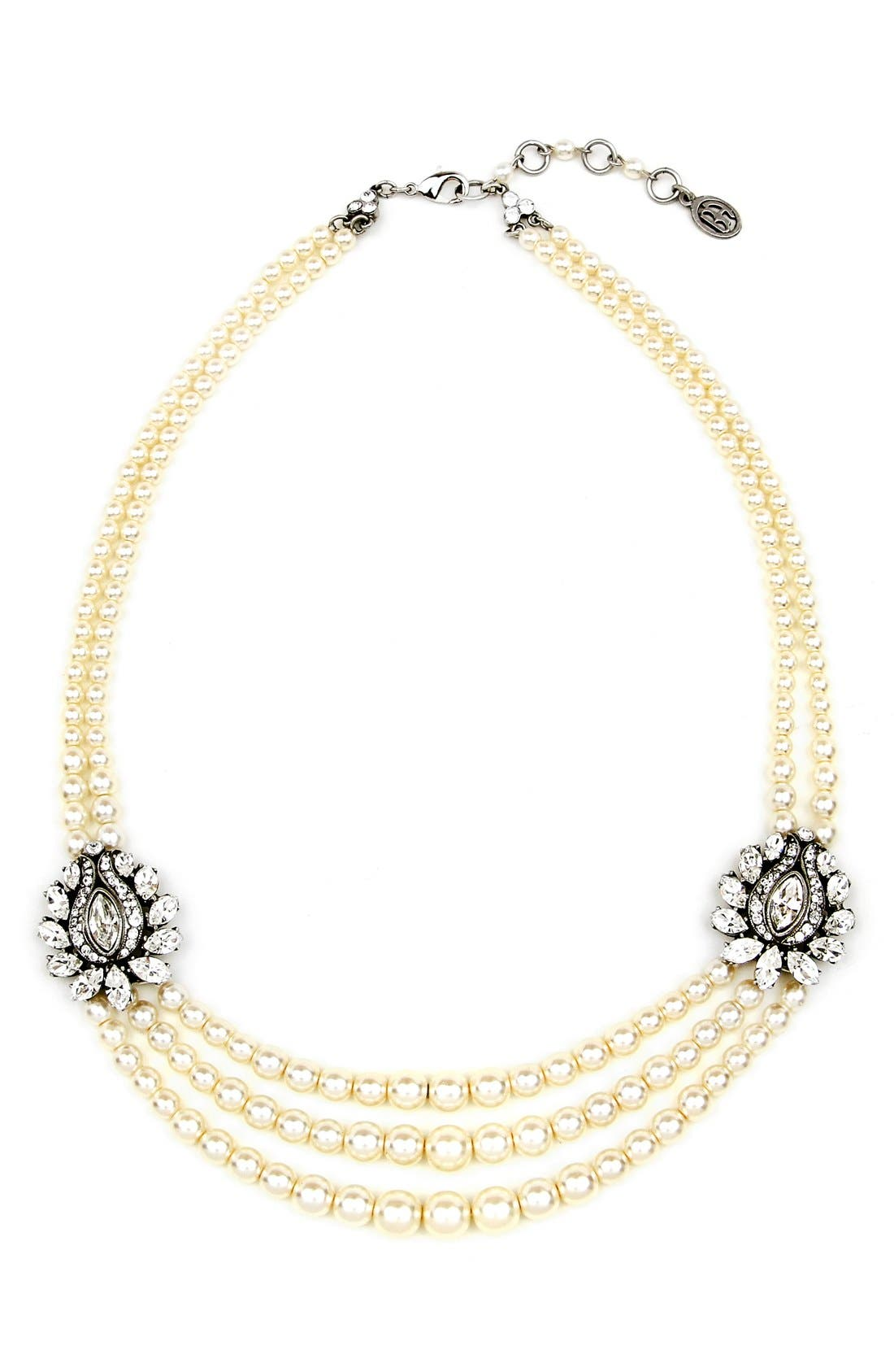 BEN-AMUN Faux Pearl & Crystal Station Necklace