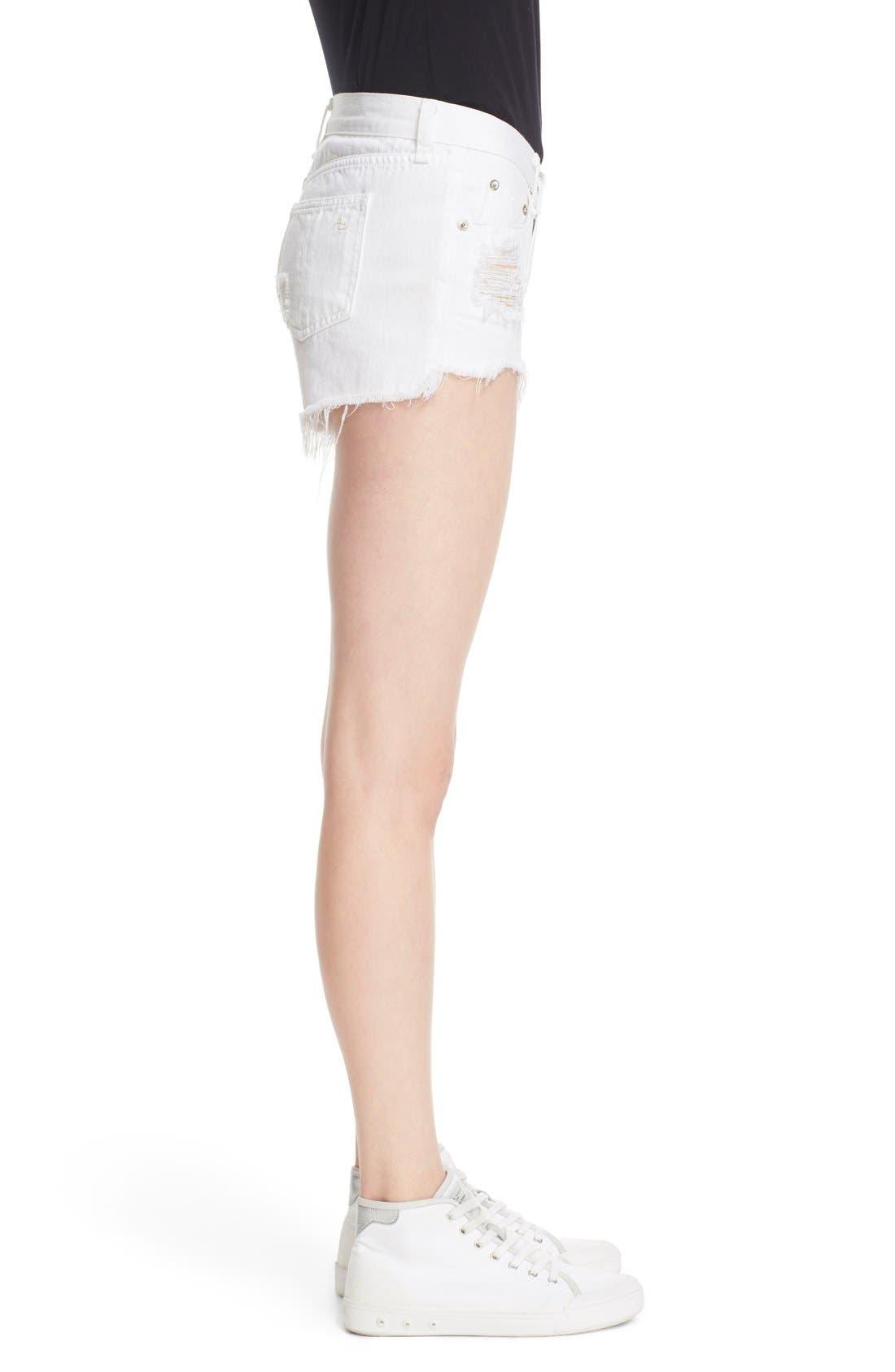 Ripped Cutoff Denim Shorts,                             Alternate thumbnail 3, color,                             White Marin