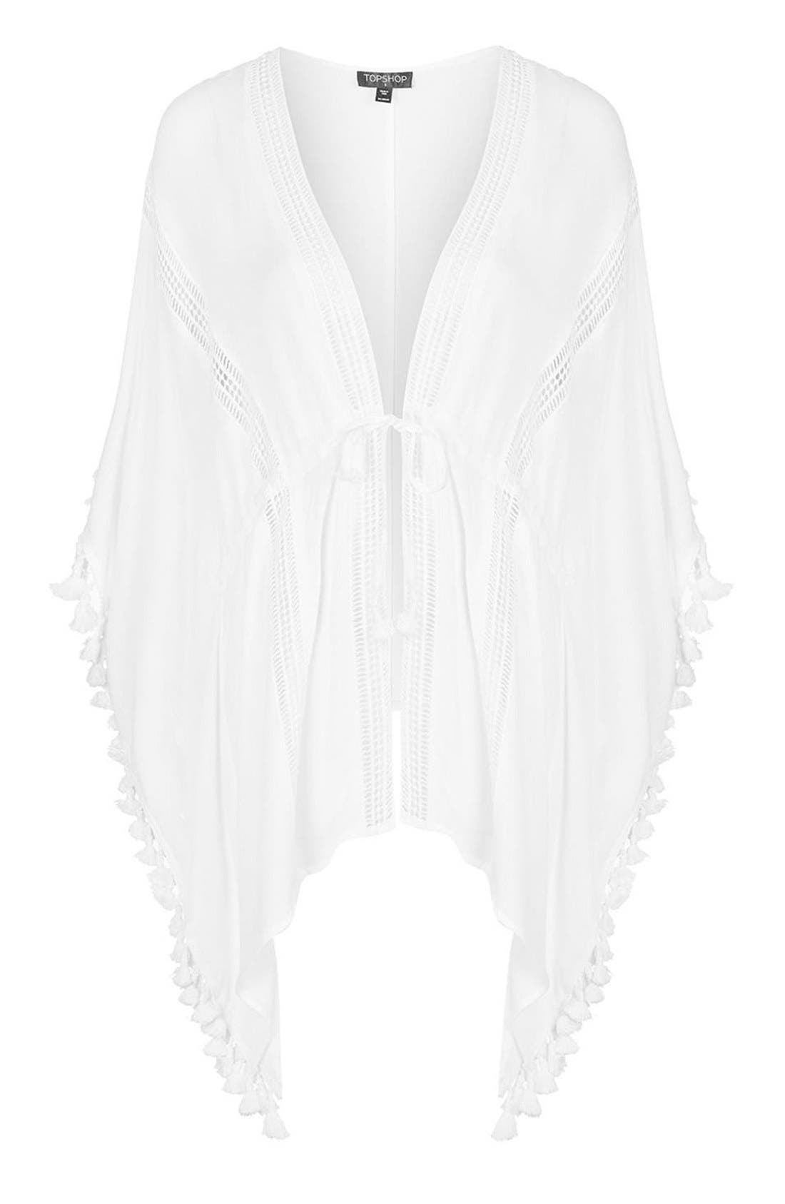 Lace Detail Caftan Cover-Up,                             Alternate thumbnail 4, color,                             White