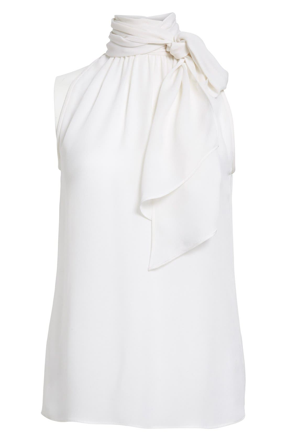 Alternate Image 4  - St. John Collection Tie Neck Silk Georgette Shell