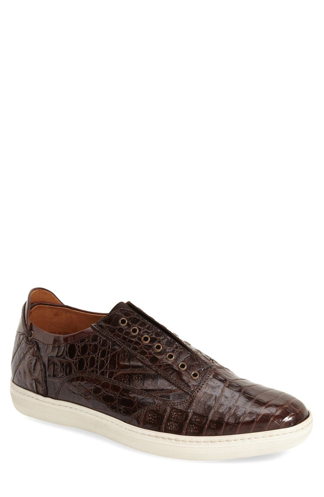 'Emmanuel' Slip-on Sneaker,                             Main thumbnail 1, color,                             Brown Crocodile