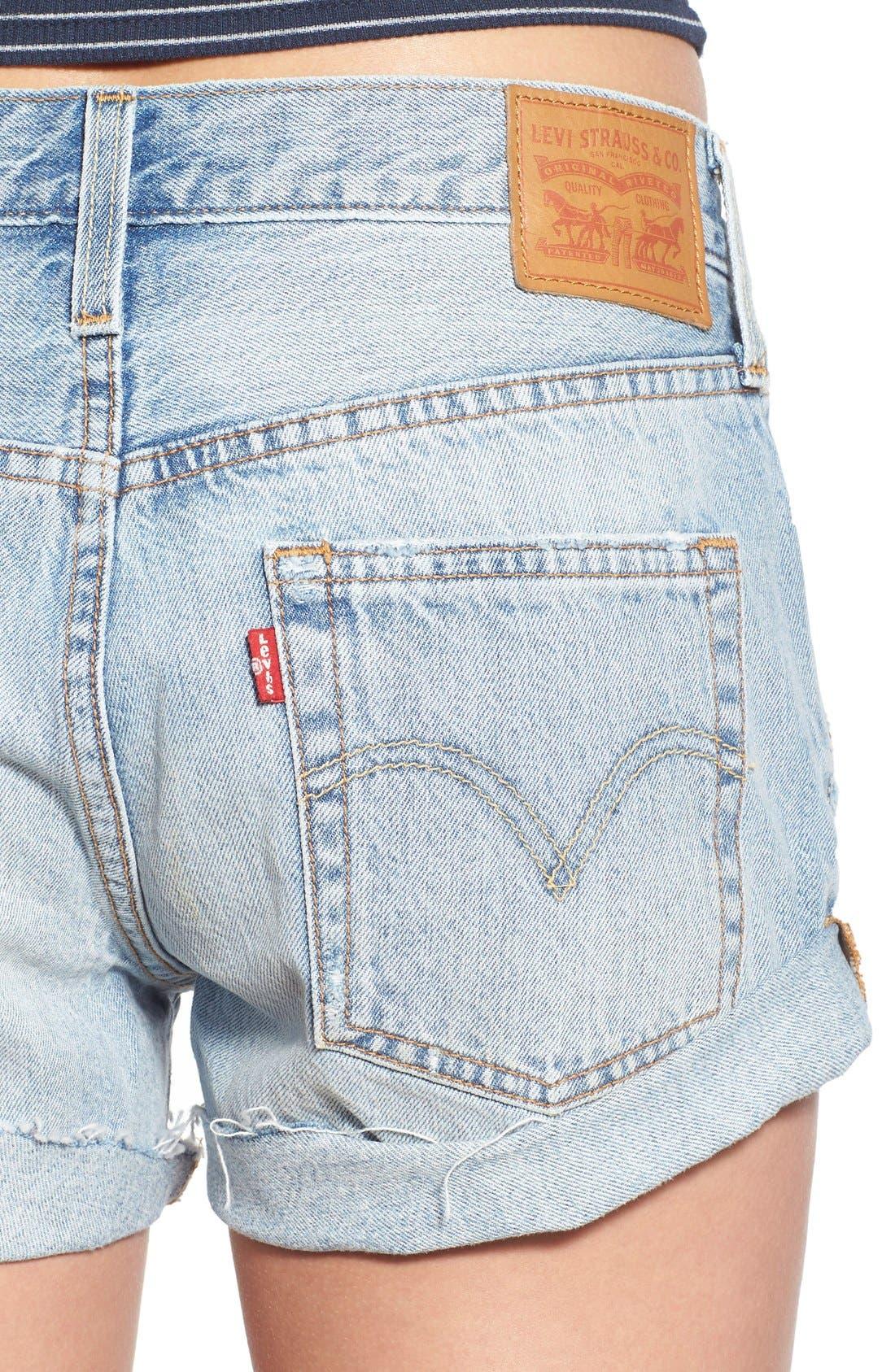 Alternate Image 4  - Levi's® '501® Customized' Distressed Rolled Denim Shorts