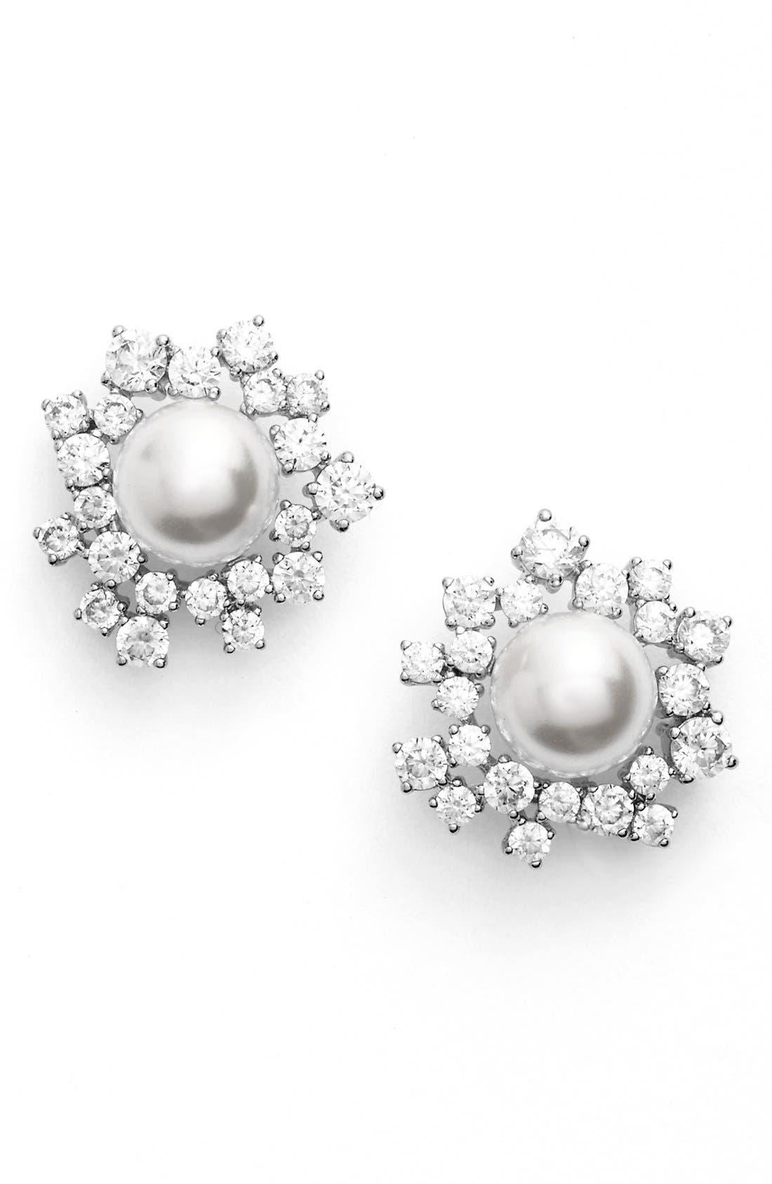 Alternate Image 1 Selected - Nadri Faux Pearl Stud Earrings