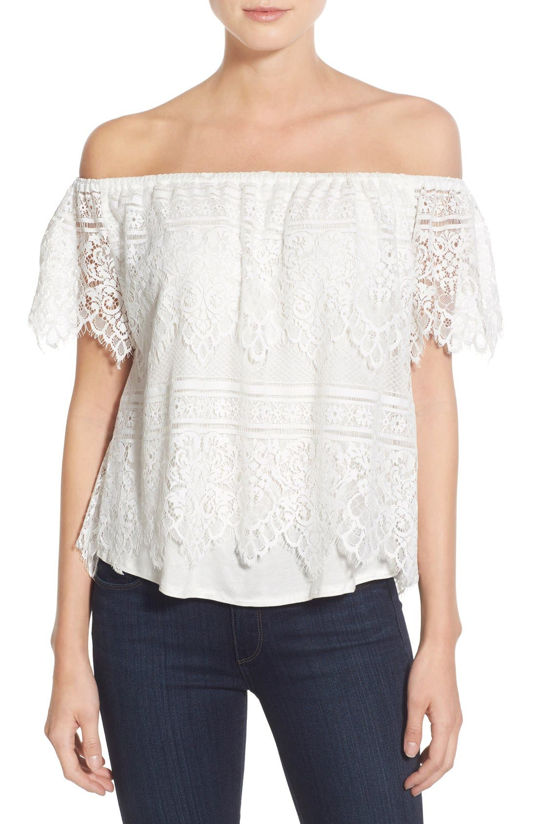 Main Image - cupcakes and cashmere 'Sunset Lace' Off the Shoulder Top