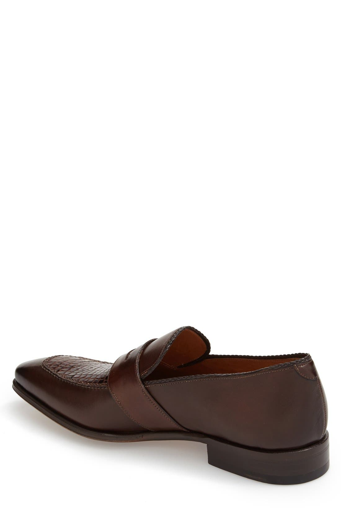 'Lambert' Penny Loafer,                             Alternate thumbnail 2, color,                             Brown Crocodile Leather