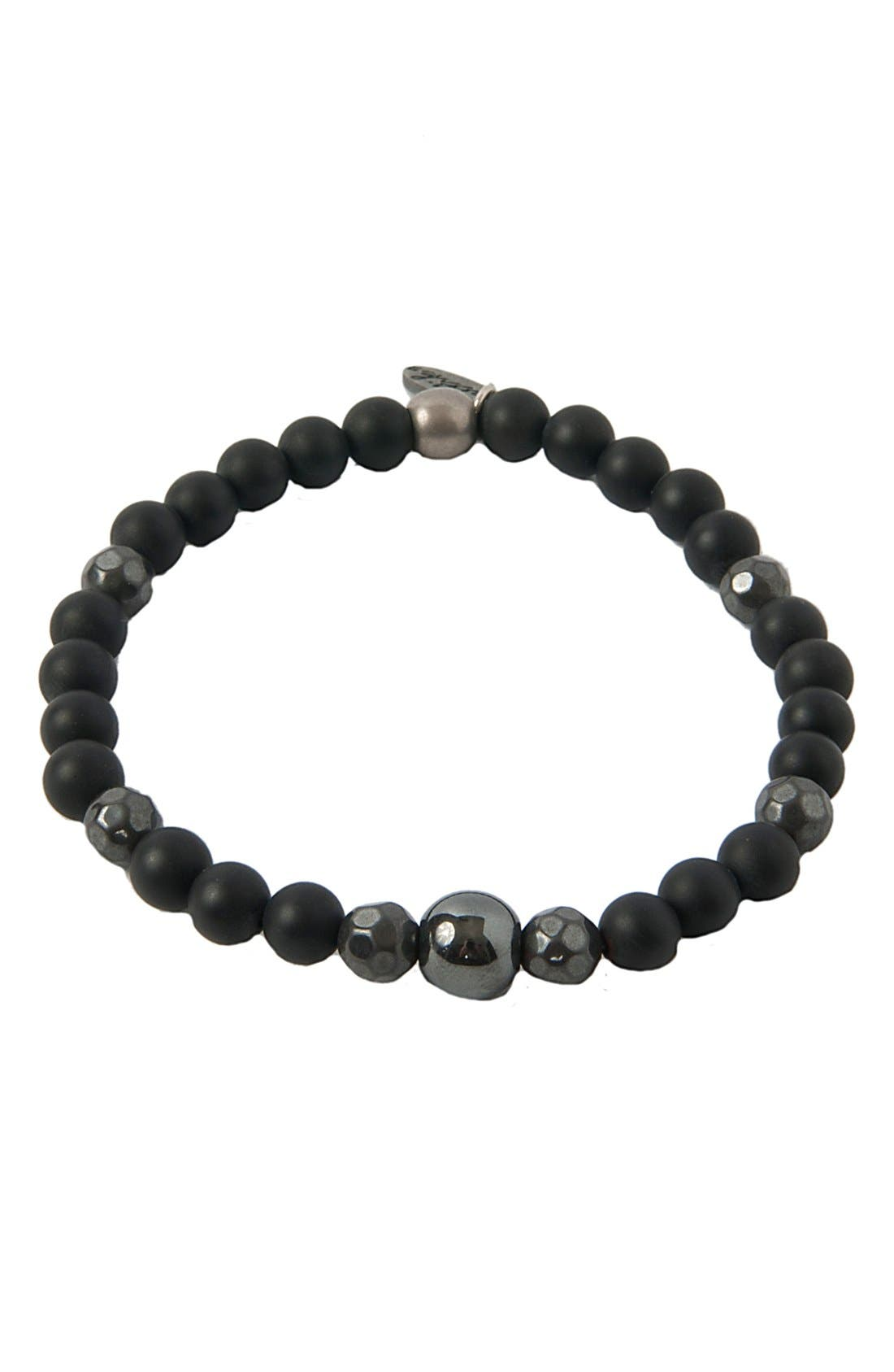 Onyx, Hematite & Silver Bracelet,                         Main,                         color, Black