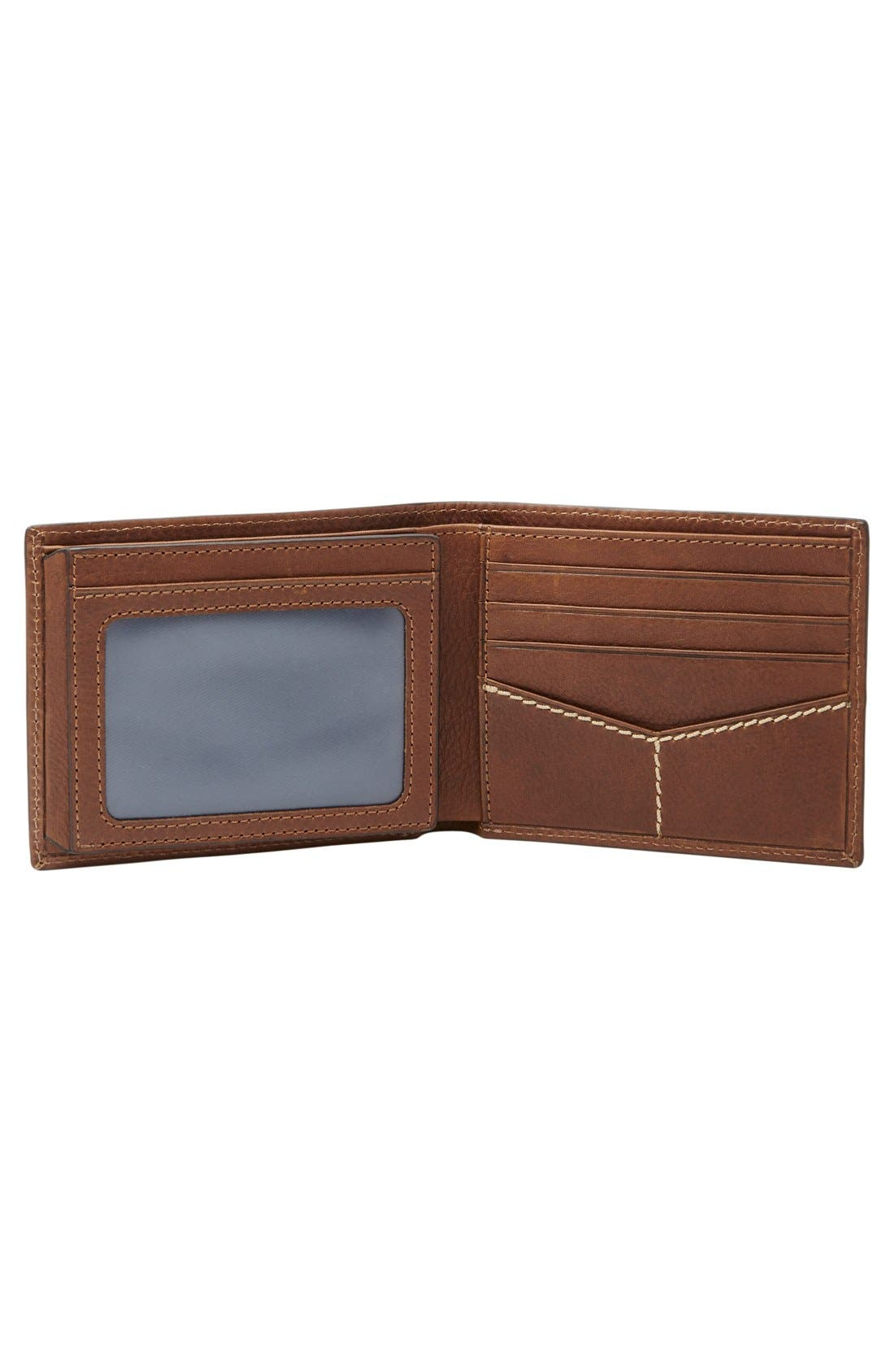 'Turk' Leather RFID Wallet,                             Alternate thumbnail 2, color,                             Brown