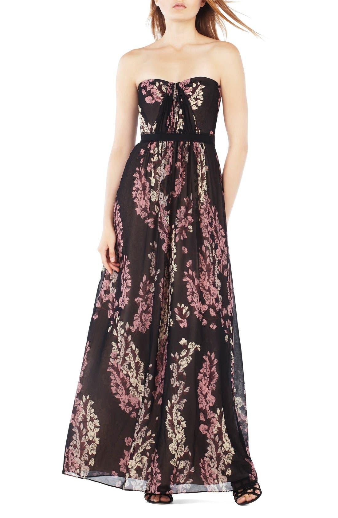 Main Image - BCBGMAXAZRIA Strapless Floral Georgette Gown