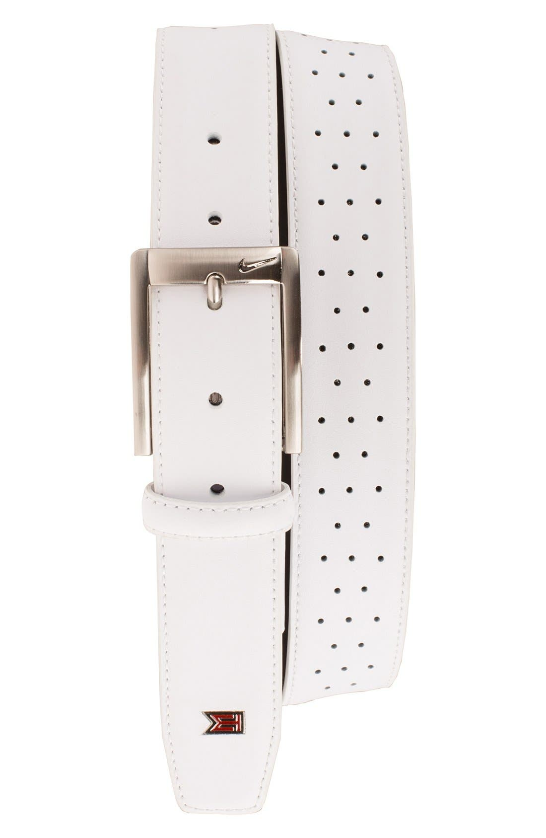 'Tiger Woods' Mesh Leather Belt,                             Main thumbnail 1, color,                             White