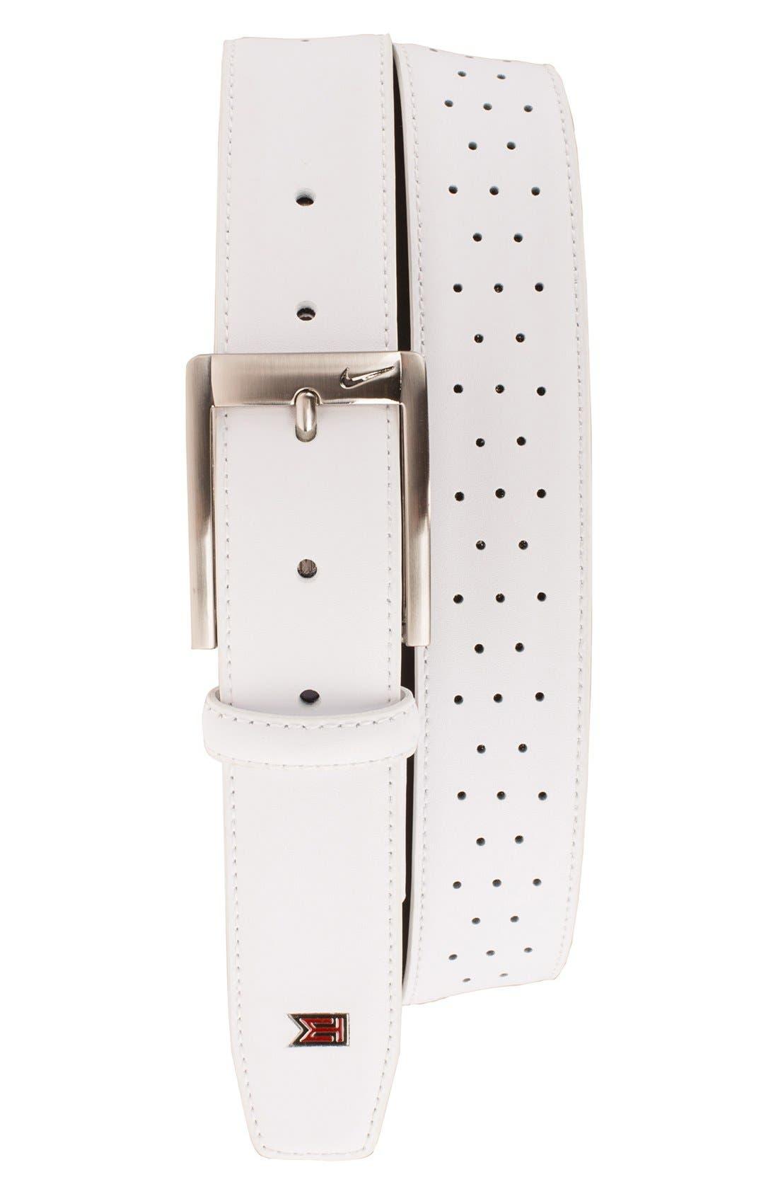'Tiger Woods' Mesh Leather Belt,                         Main,                         color, White