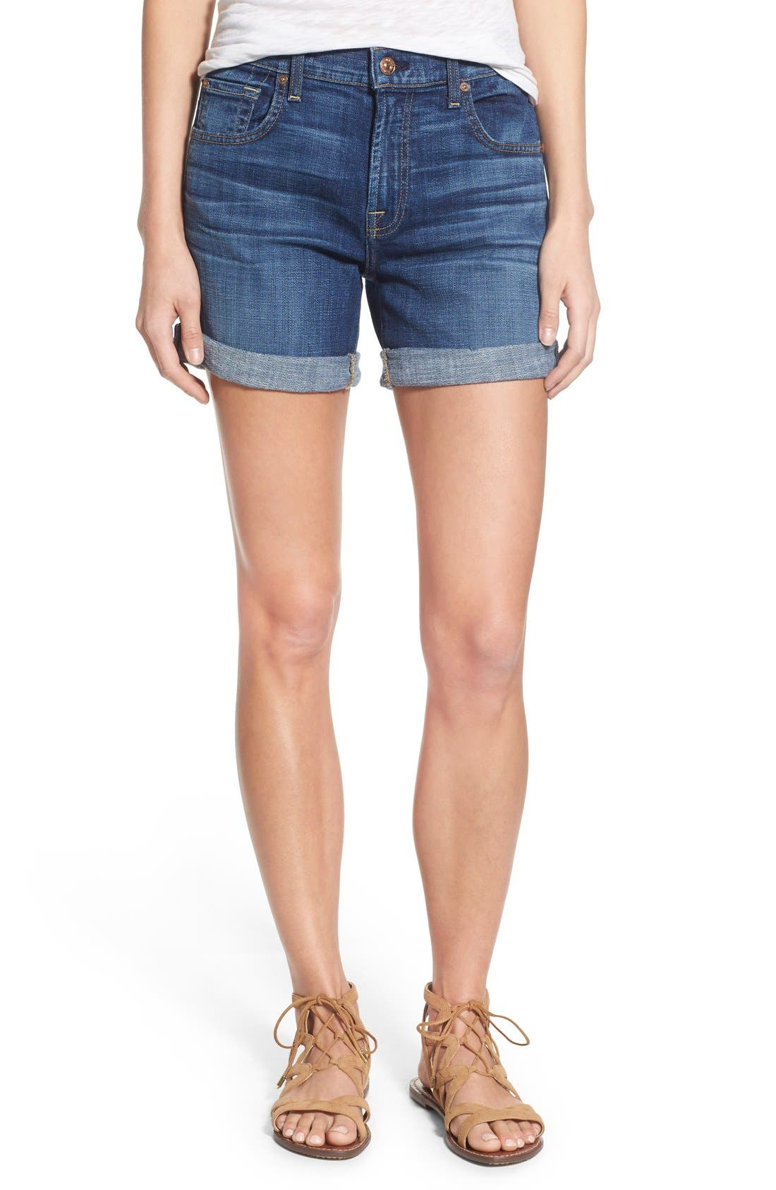 Relaxed High Rise Denim Shorts,                         Main,                         color, Brilliant Blue Broken Twill