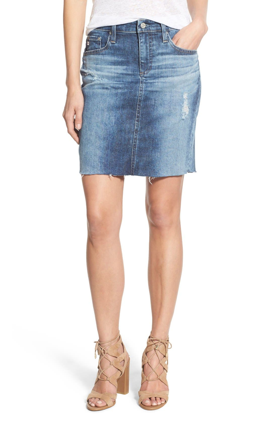 Main Image - AG 'Erin' Cutoff Denim Skirt (Sail Away)