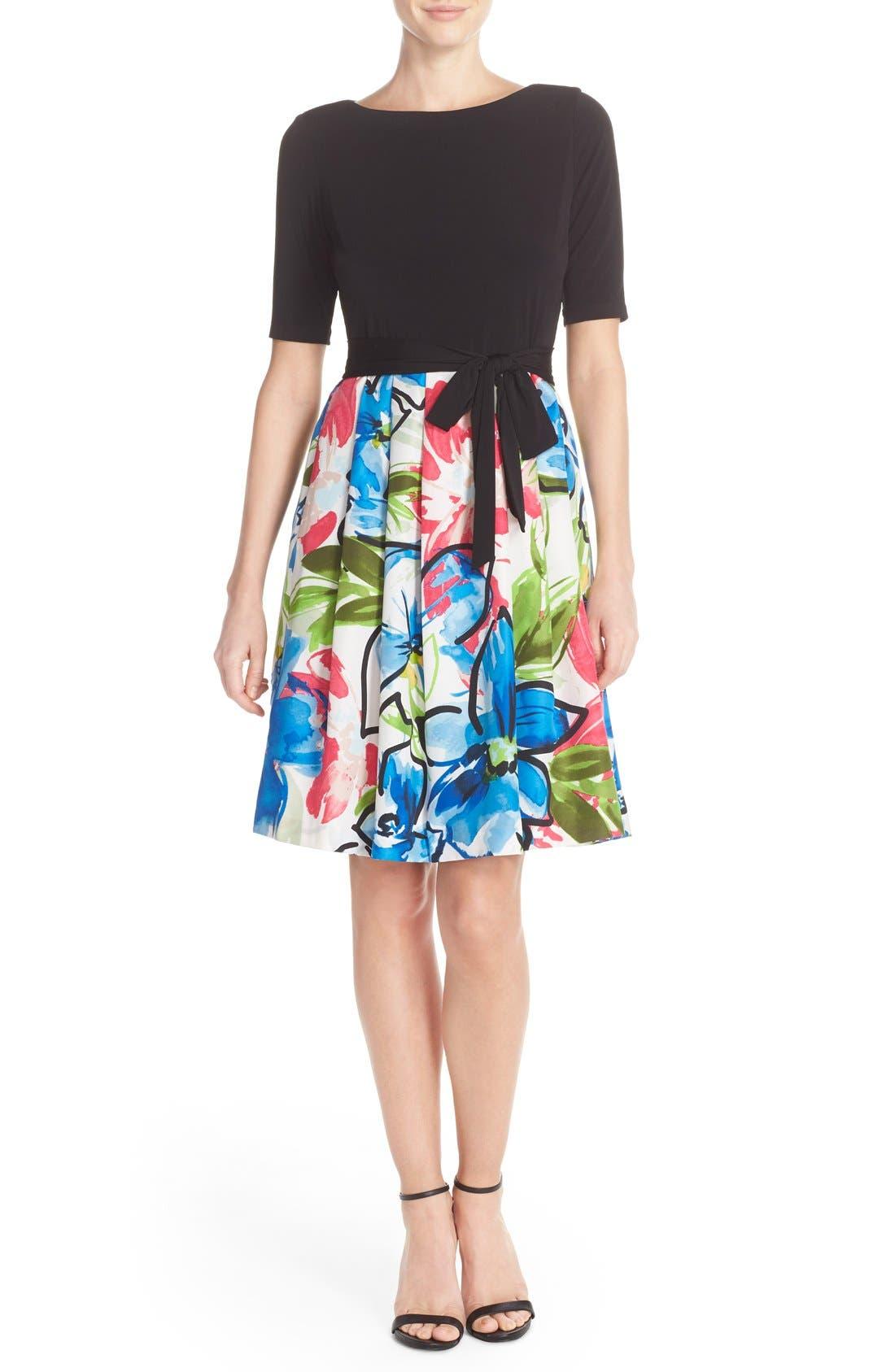 Alternate Image 4  - Ellen Tracy Mixed Media Fit & Flare Dress