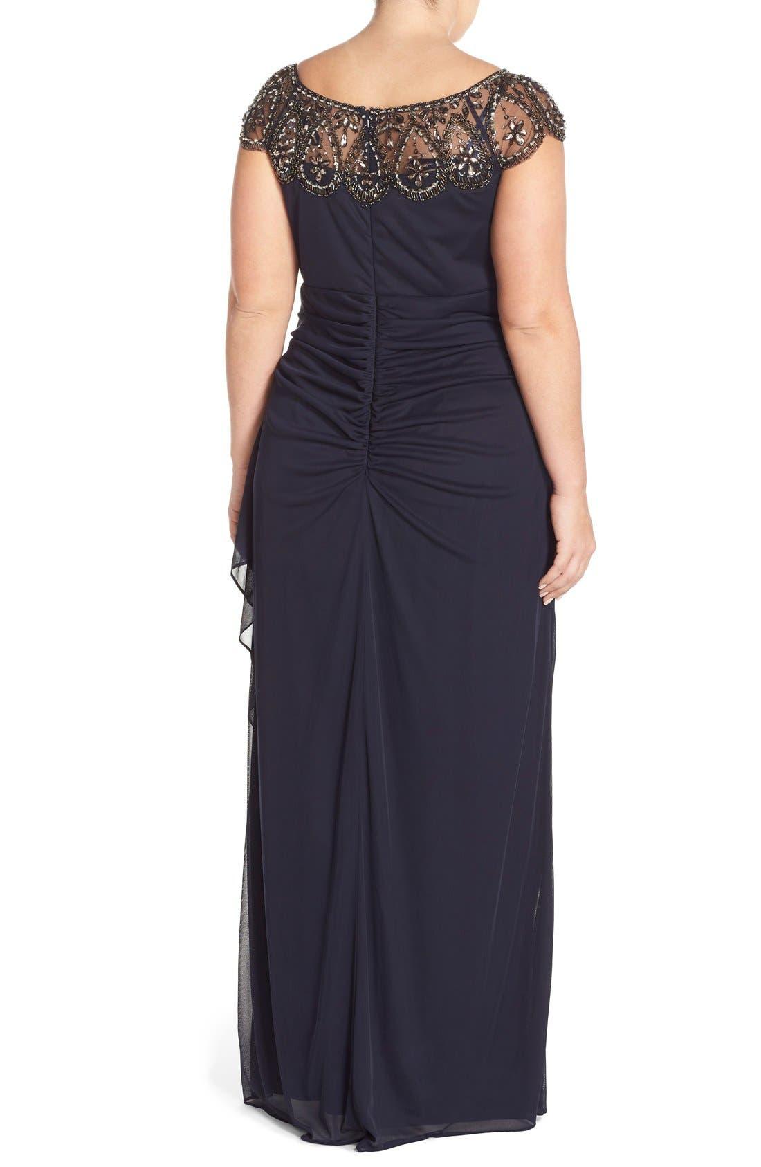 Alternate Image 2  - Xscape Beaded Neck Empire Gown (Plus Size)