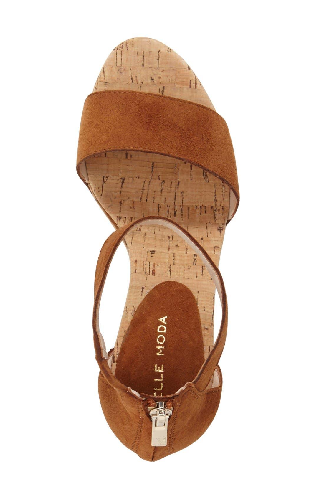 'Clare' Sandal,                             Alternate thumbnail 3, color,                             Cognac Leather