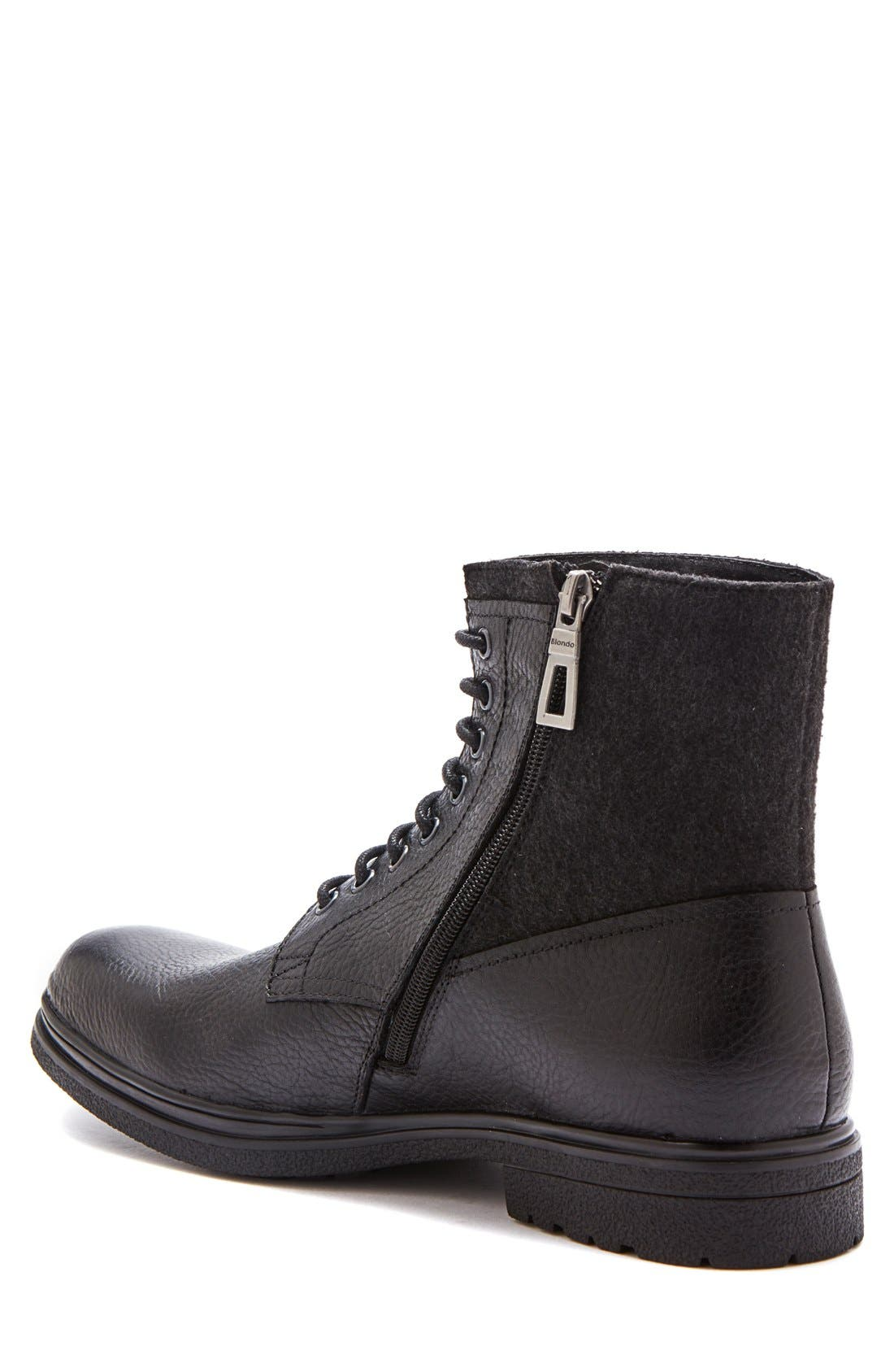 'Backoff' Waterproof Plain Toe Boot,                             Alternate thumbnail 2, color,                             Black Leather