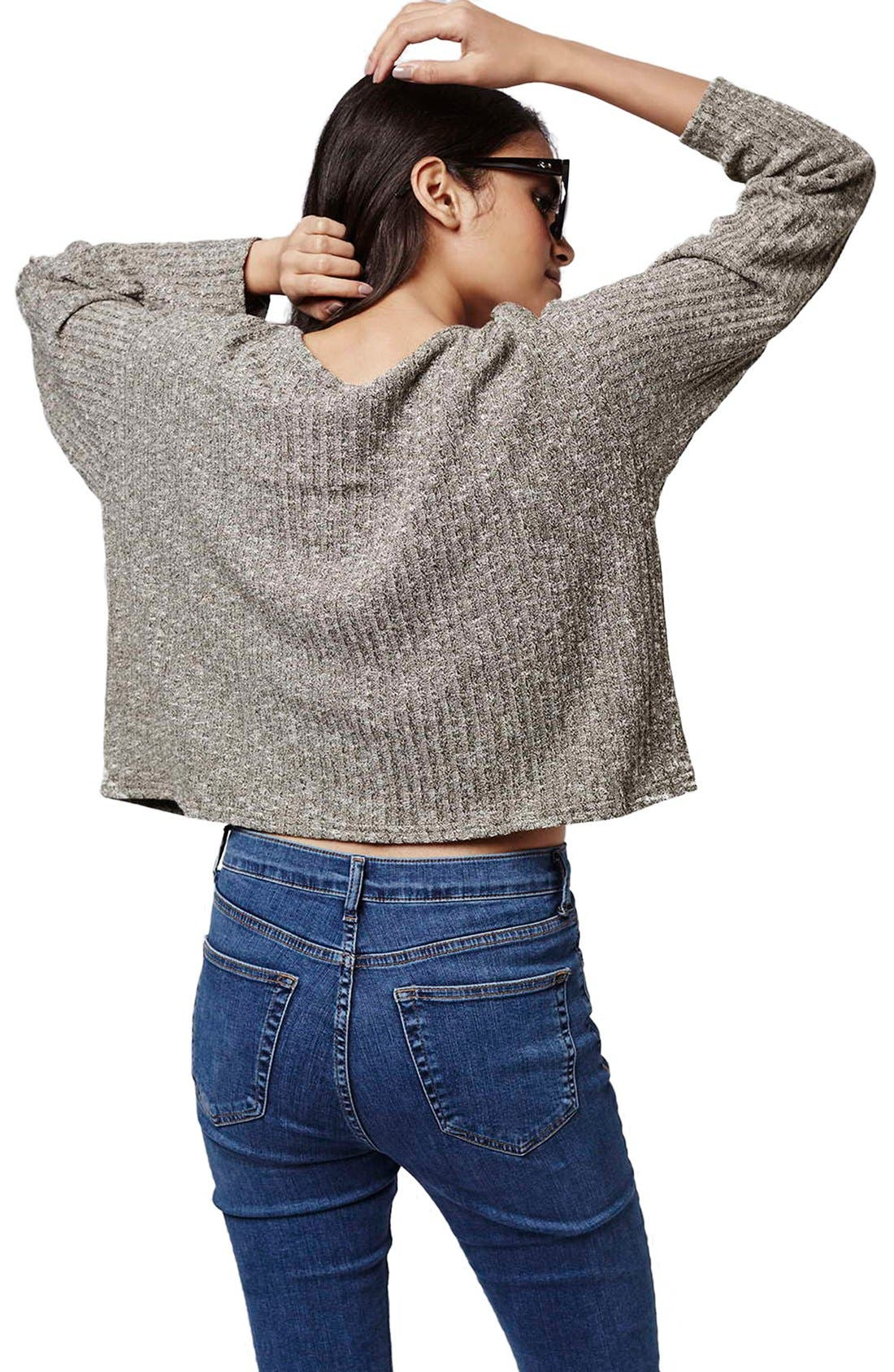 Ribbed Crop Top,                             Alternate thumbnail 3, color,                             Olive