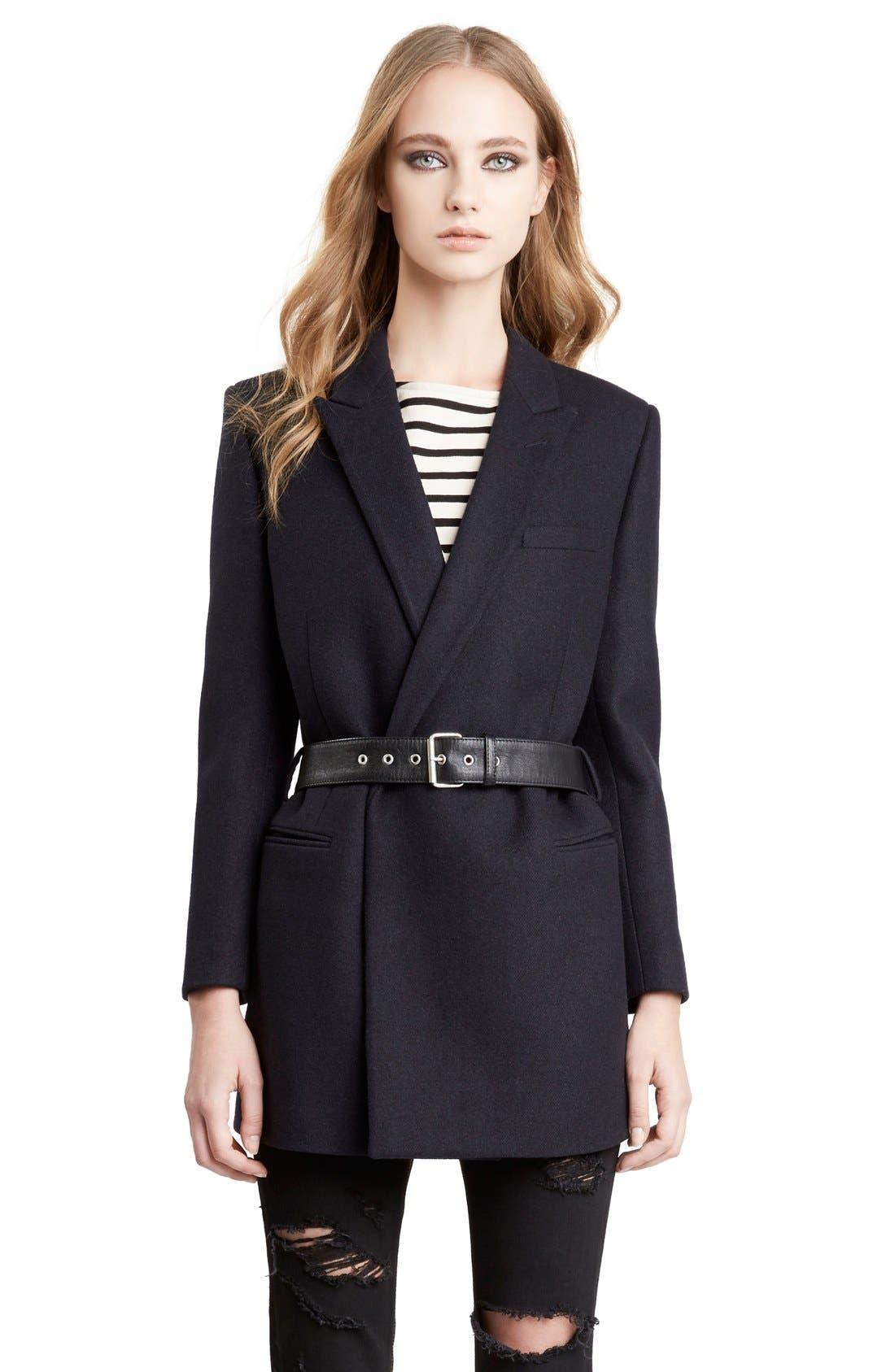Alternate Image 4  - Saint Laurent Wool Coat with Belt