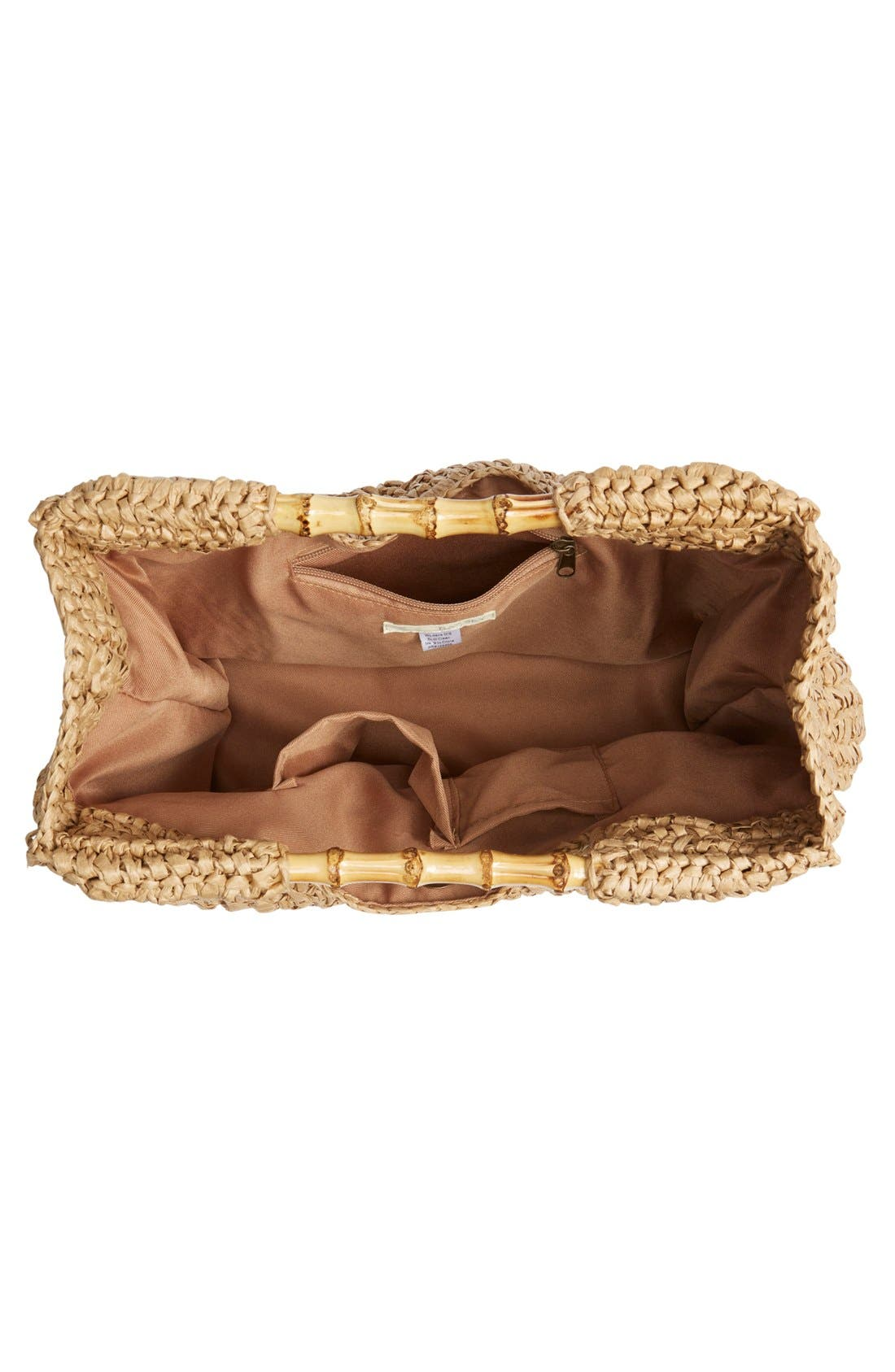 Woven Straw Tote,                             Alternate thumbnail 4, color,                             Natural