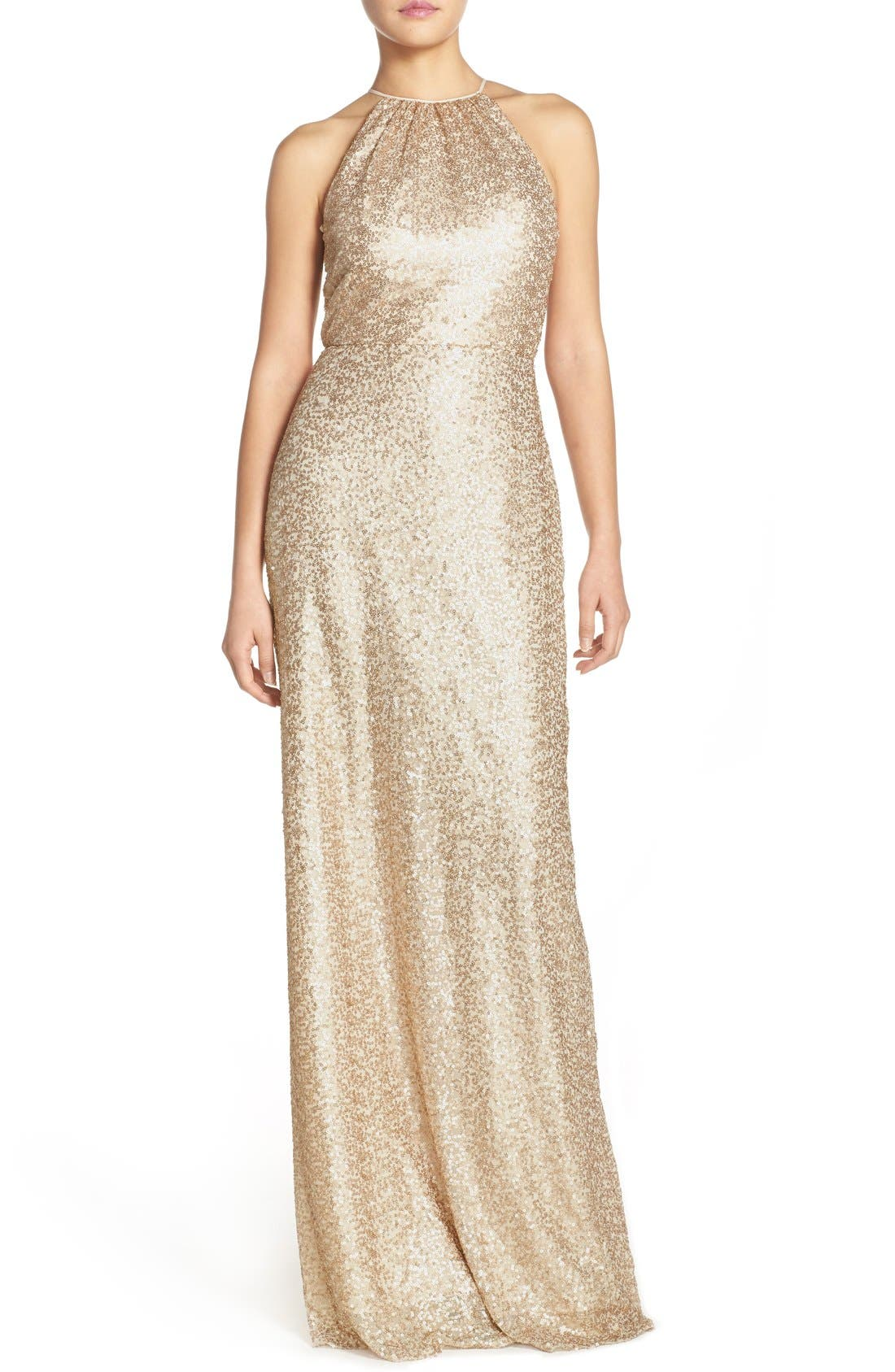 Alternate Image 1 Selected - Amsale 'Chandler' Sequin Tulle Halter Style Gown