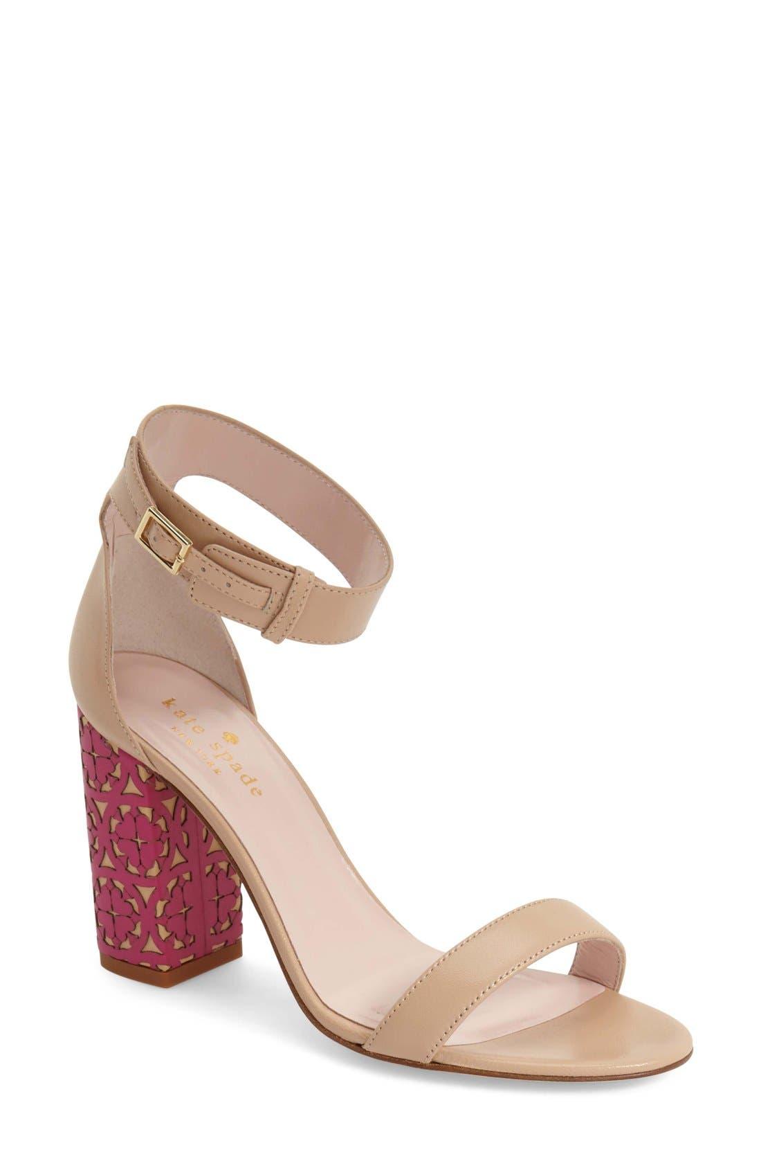 Main Image - kate spade new york 'idelle' ankle strap block heel sandal (Women)