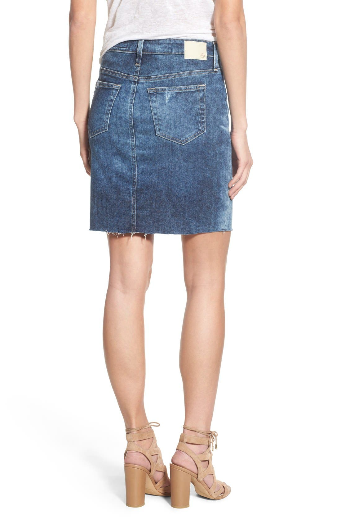 Alternate Image 2  - AG 'Erin' Cutoff Denim Skirt (Sail Away)
