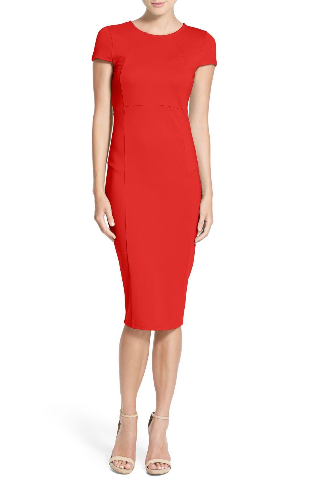 Ward Seamed Pencil Dress,                         Main,                         color, Cayenne
