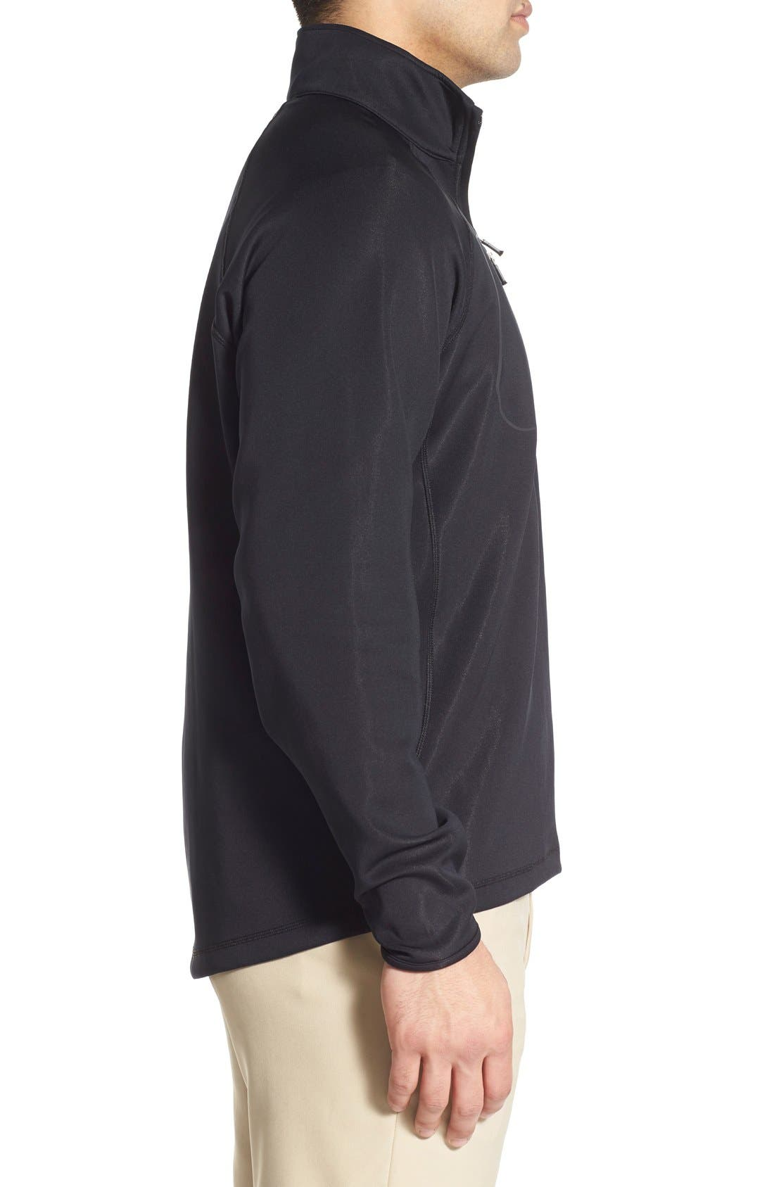 XH2O Crawford Stretch Quarter Zip Golf Pullover,                             Alternate thumbnail 3, color,                             Black