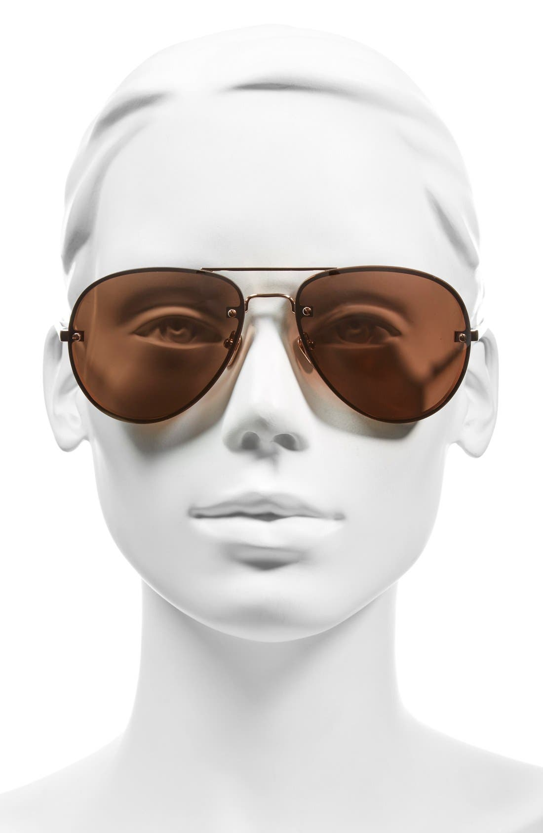 Alternate Image 2  - Linda Farrow 59mm Aviator 18 Karat Rose Gold Trim Sunglasses